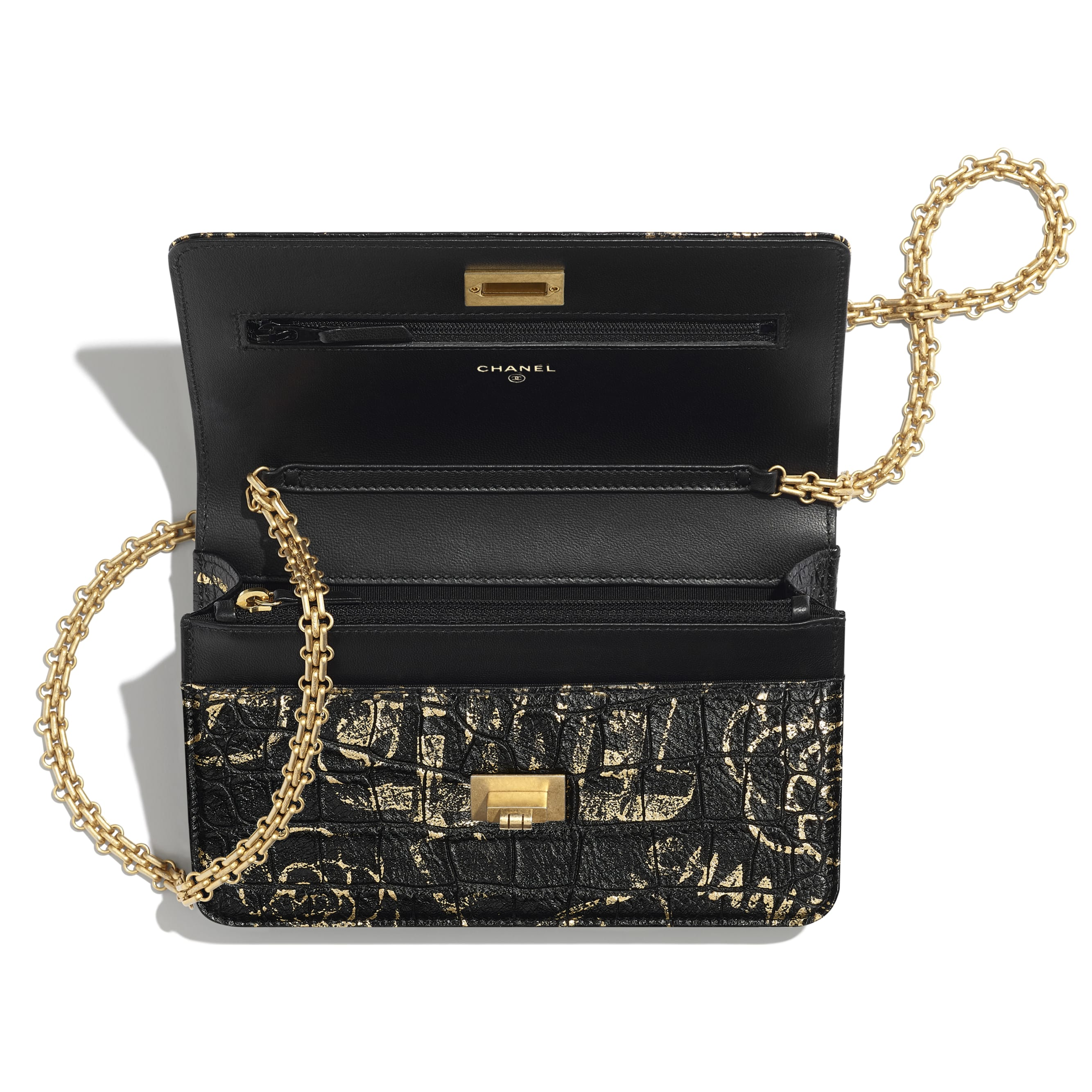 2.55 Wallet on Chain - Black & Gold - Crocodile Embossed Printed Leather & Gold-Tone Metal - Other view - see standard sized version