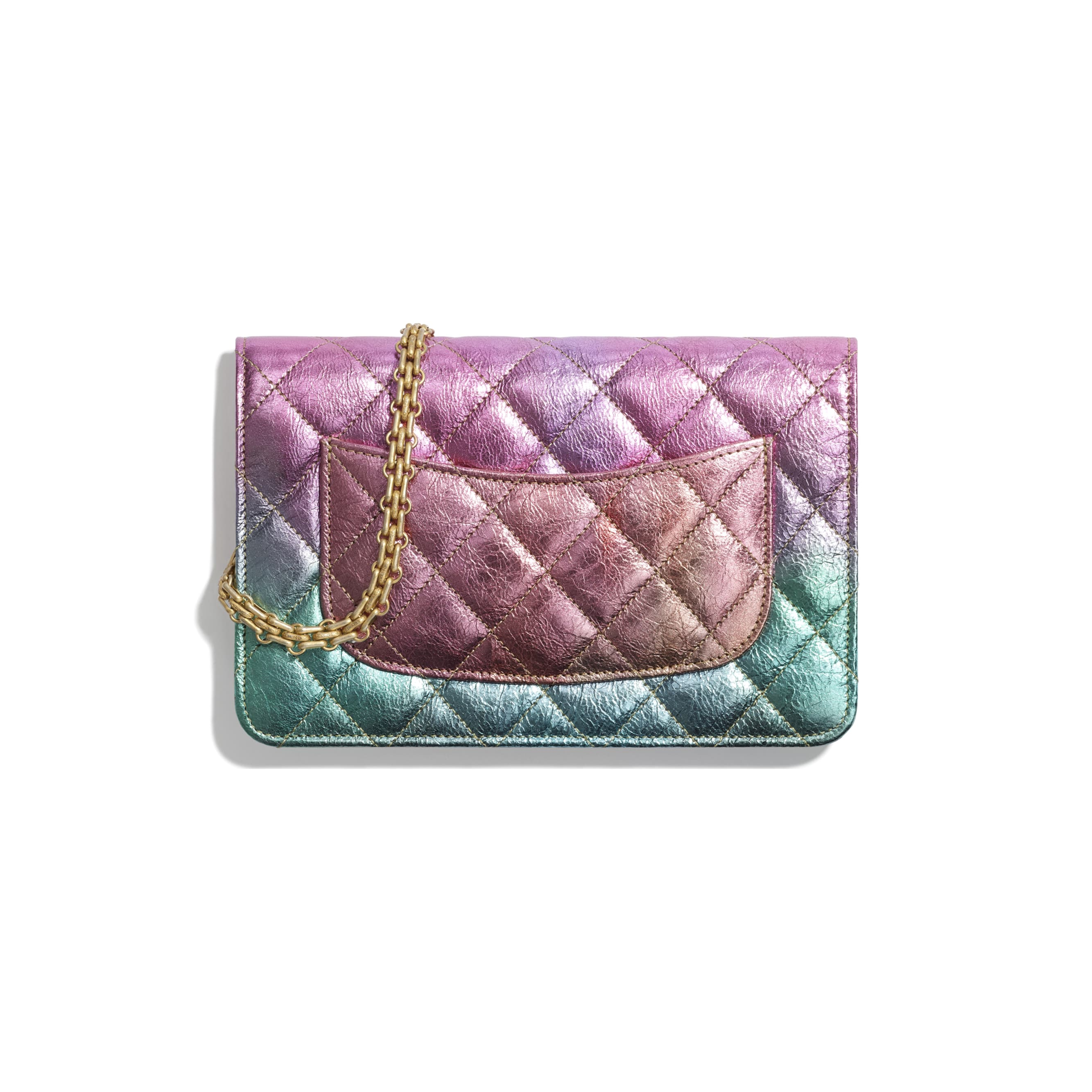 2.55 Wallet On Chain - Multicolour - Metallic Goatskin & Gold-Tone Metal - CHANEL - Alternative view - see standard sized version