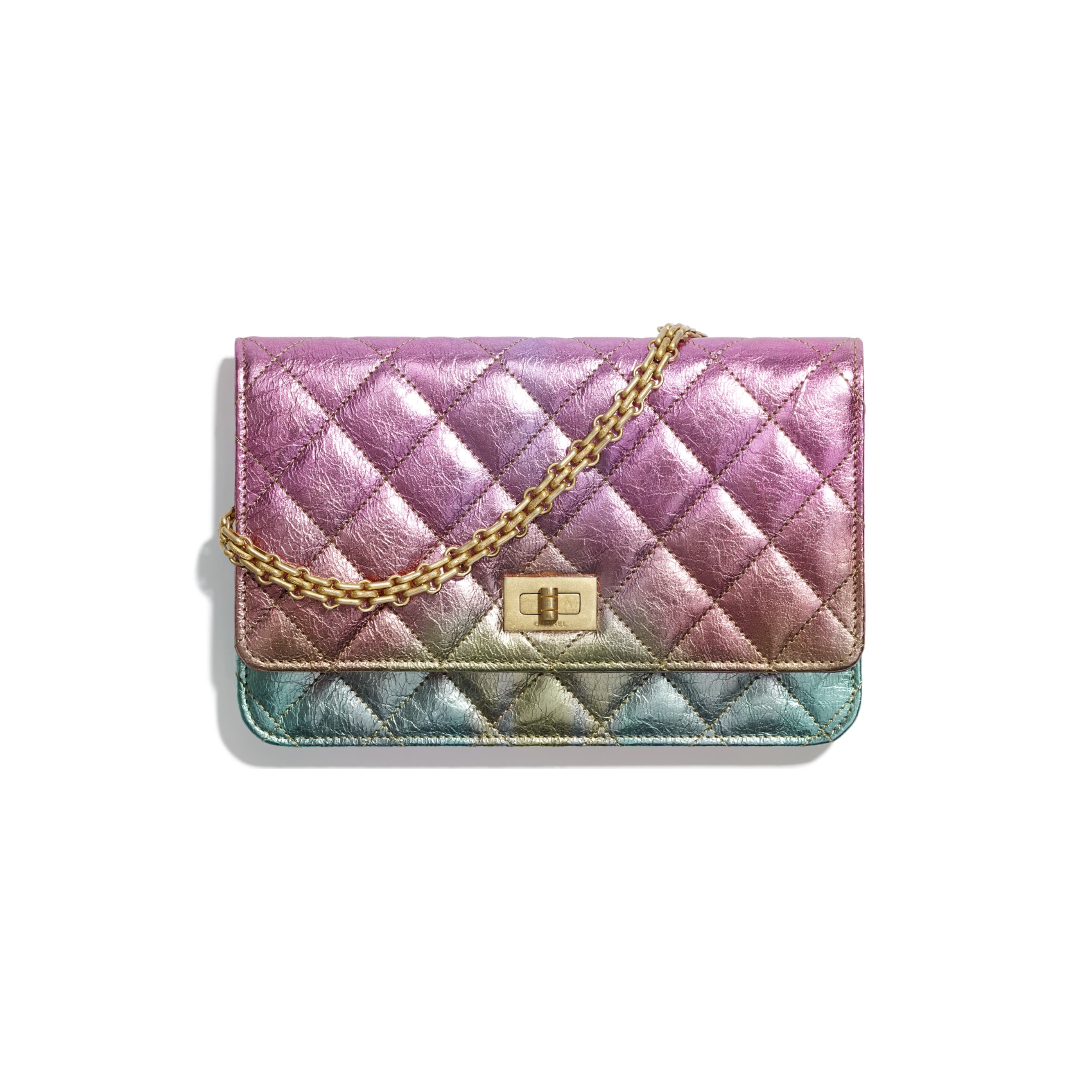 2.55 Wallet On Chain - Multicolour - Metallic Goatskin & Gold-Tone Metal - CHANEL - Default view - see standard sized version