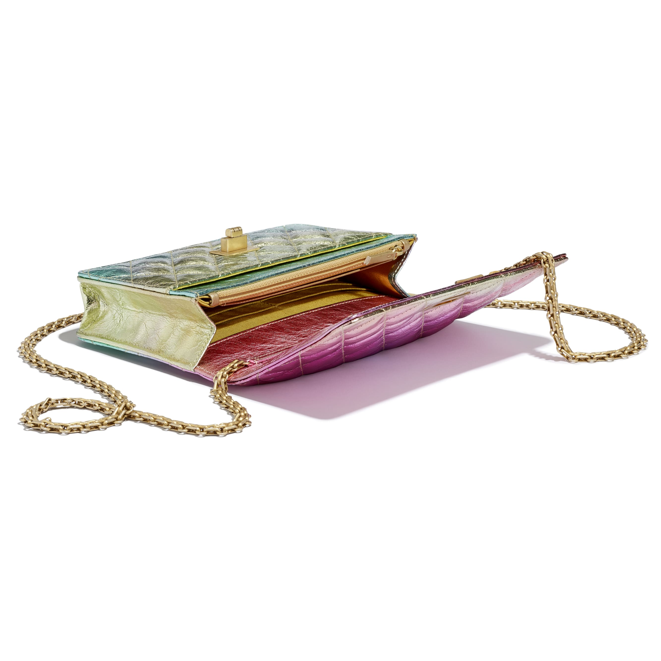 2.55 Wallet On Chain - Multicolour - Metallic Goatskin & Gold-Tone Metal - CHANEL - Extra view - see standard sized version