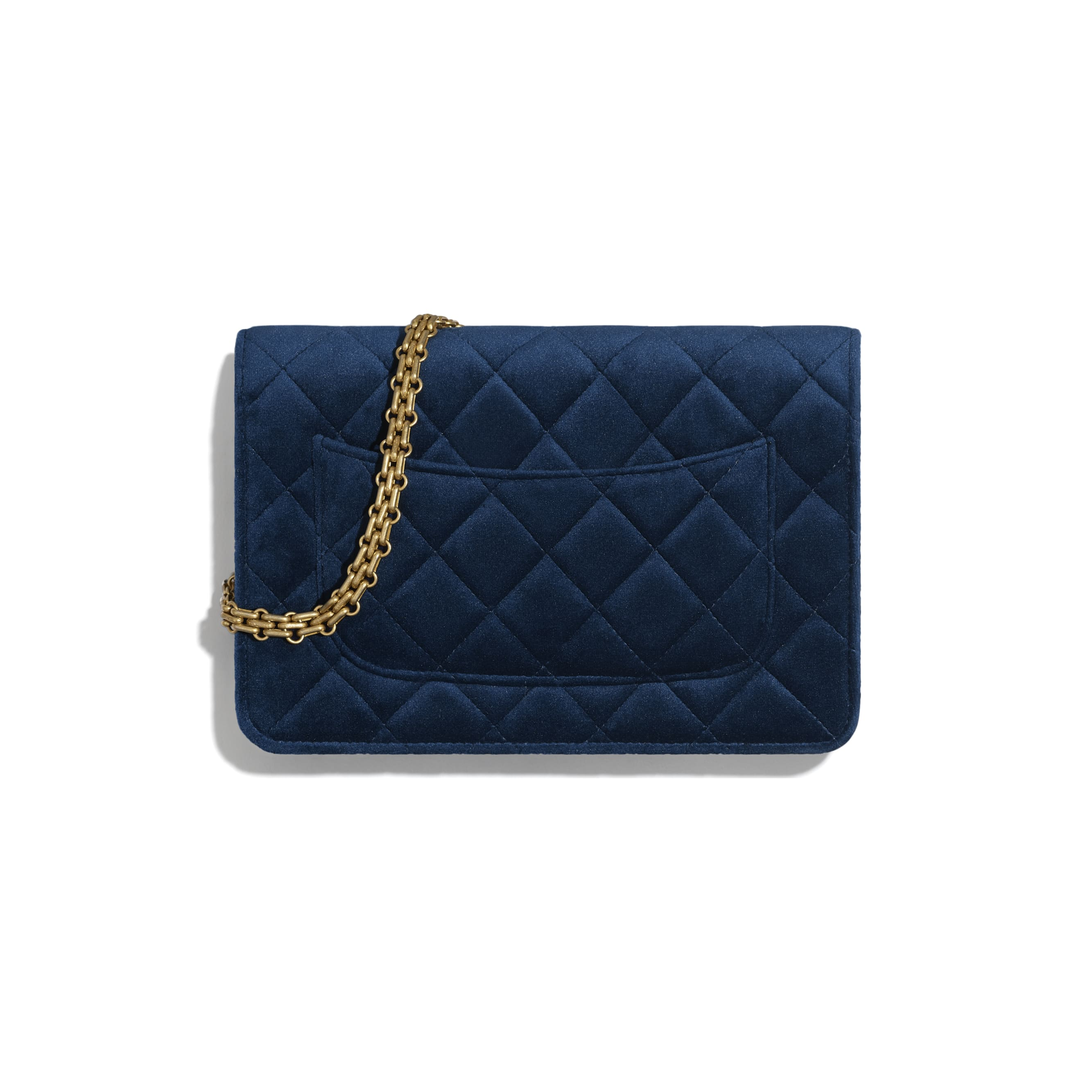 2.55 Wallet On Chain - Navy Blue - Velvet & Gold Metal - Alternative view - see standard sized version
