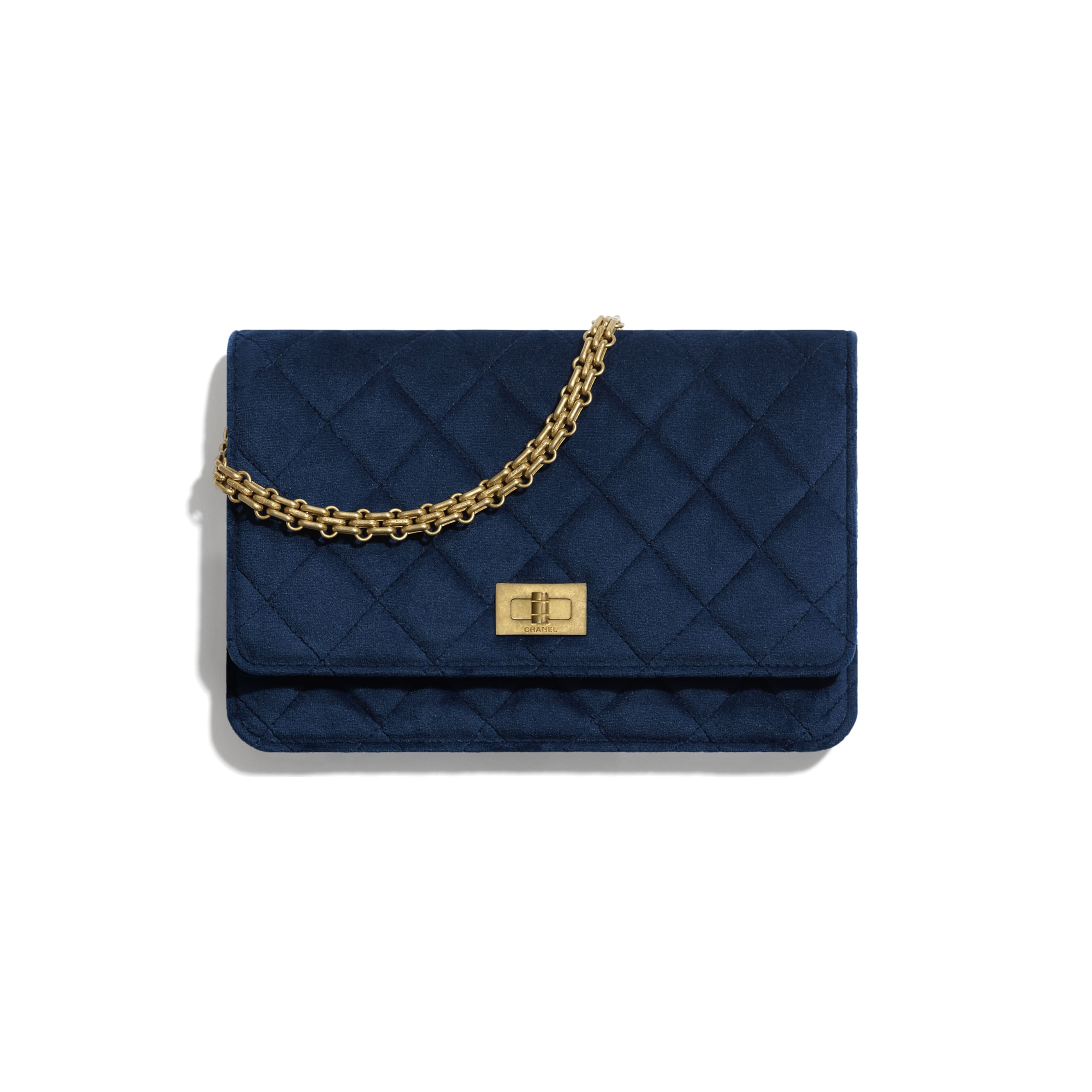 2.55 Wallet On Chain - Navy Blue - Velvet & Gold Metal - Default view - see standard sized version