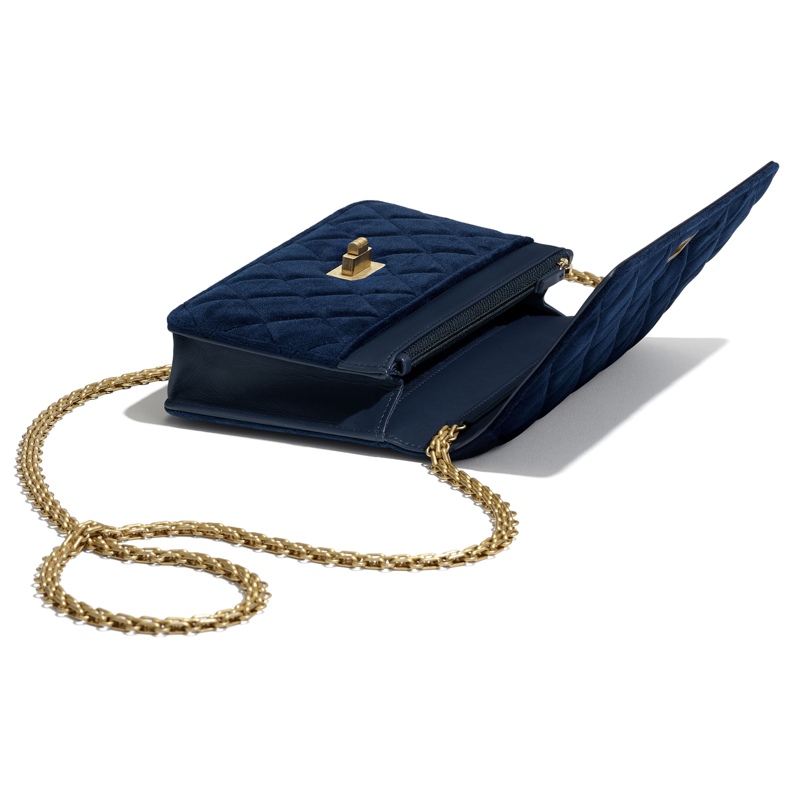 2.55 Wallet On Chain - Navy Blue - Velvet & Gold Metal - Extra view - see standard sized version
