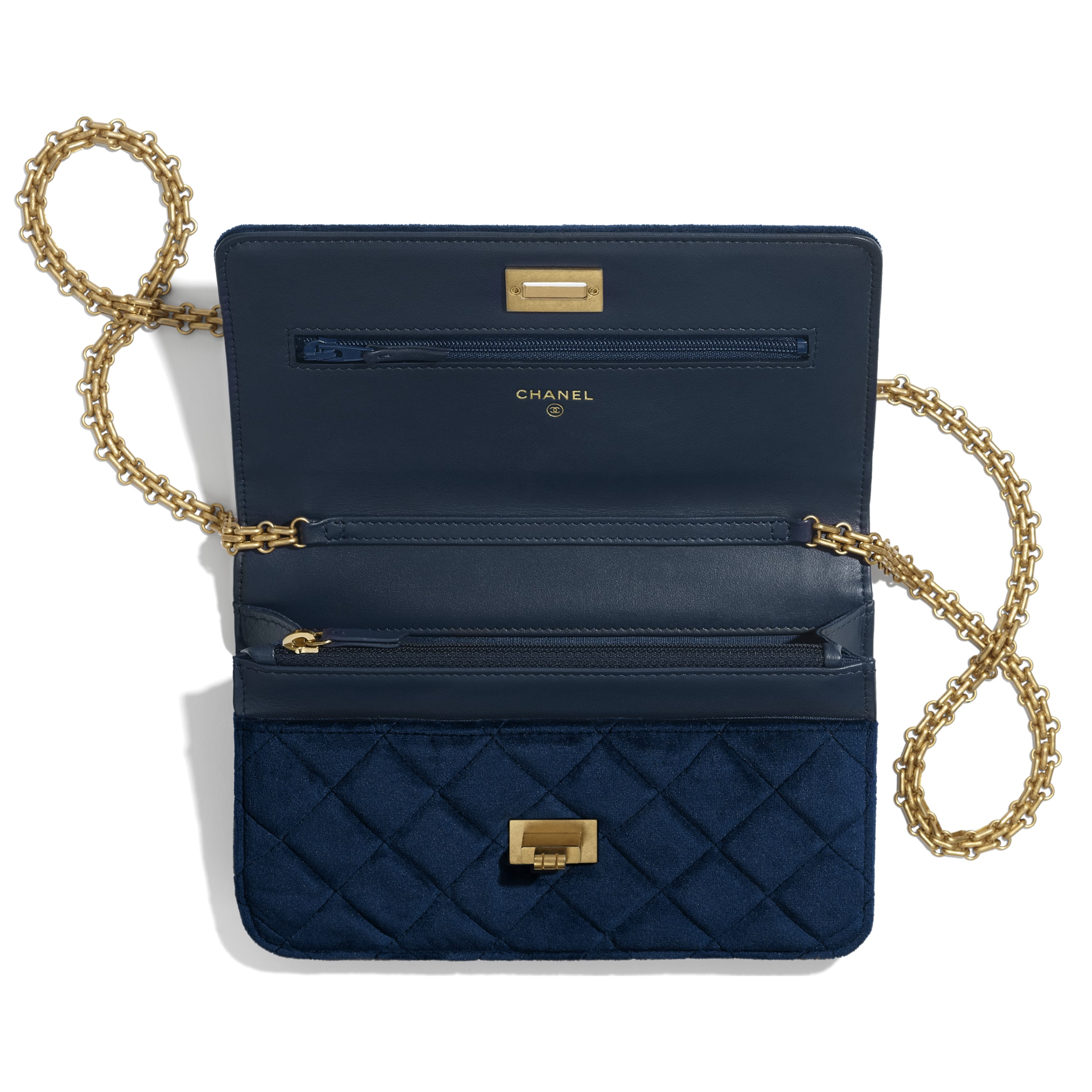 2.55 Wallet On Chain - Navy Blue - Velvet & Gold Metal - Other view - see standard sized version