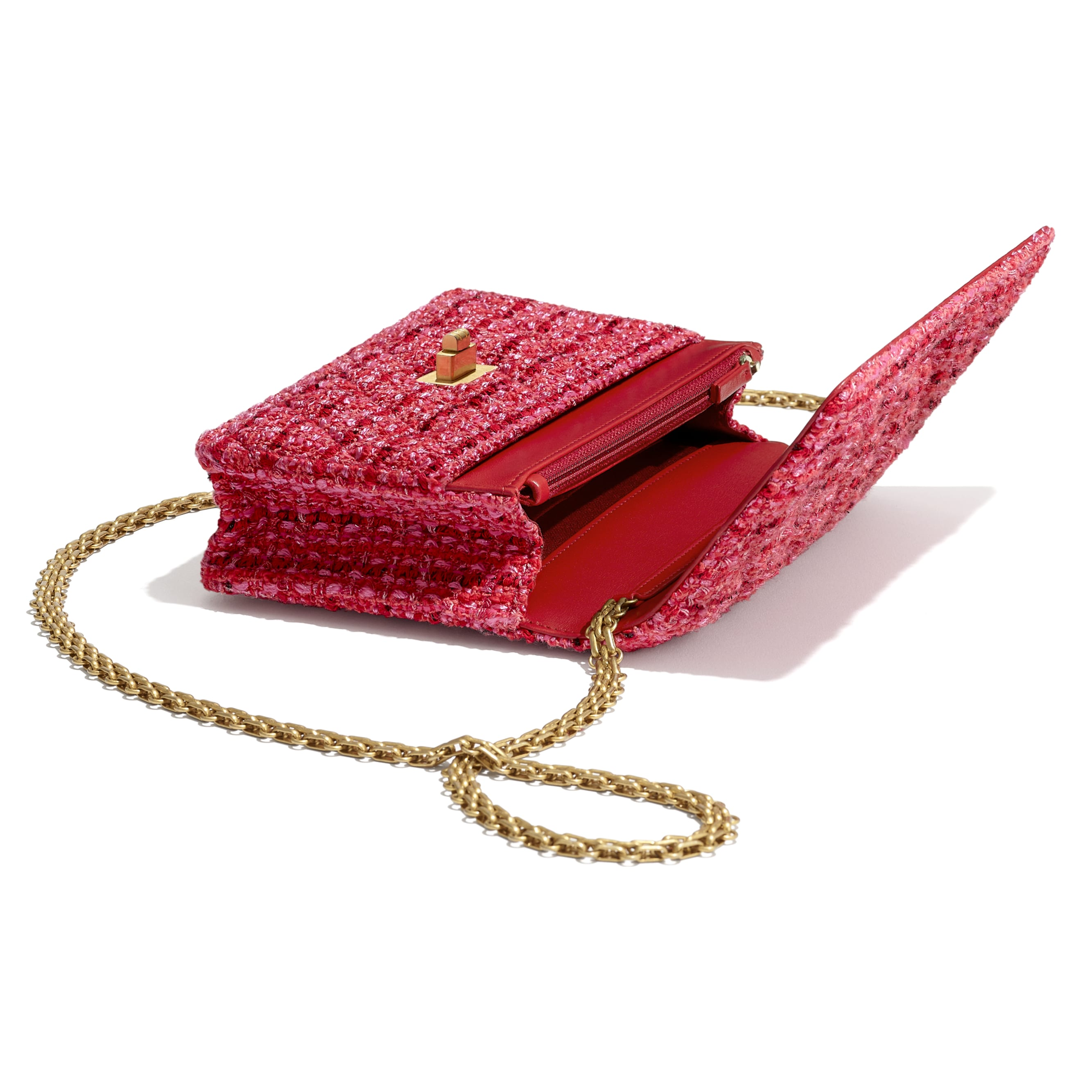 2.55 Wallet On Chain - Red, Ecru & Black - Tweed & Gold Metal - Extra view - see standard sized version