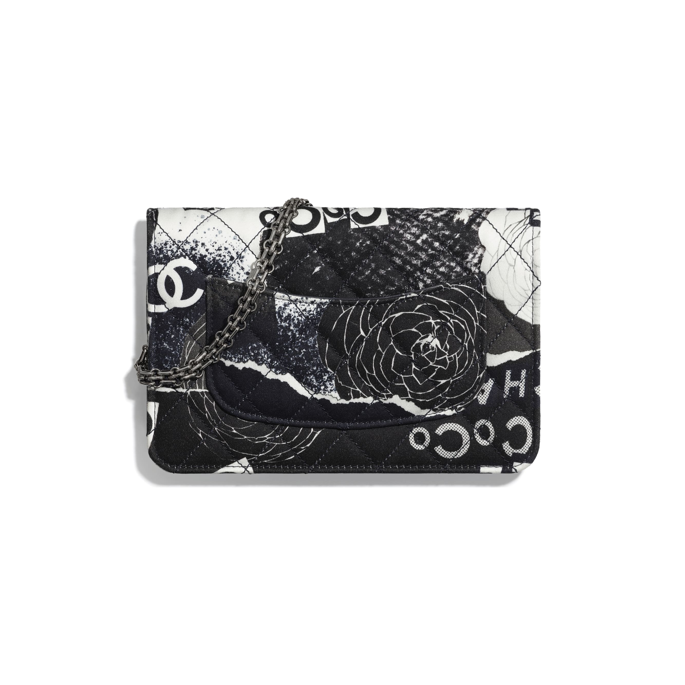 2.55 Wallet On Chain - White, Black, Navy Blue & Silver - Printed fabric & ruthenium-finish metal - Alternative view - see standard sized version