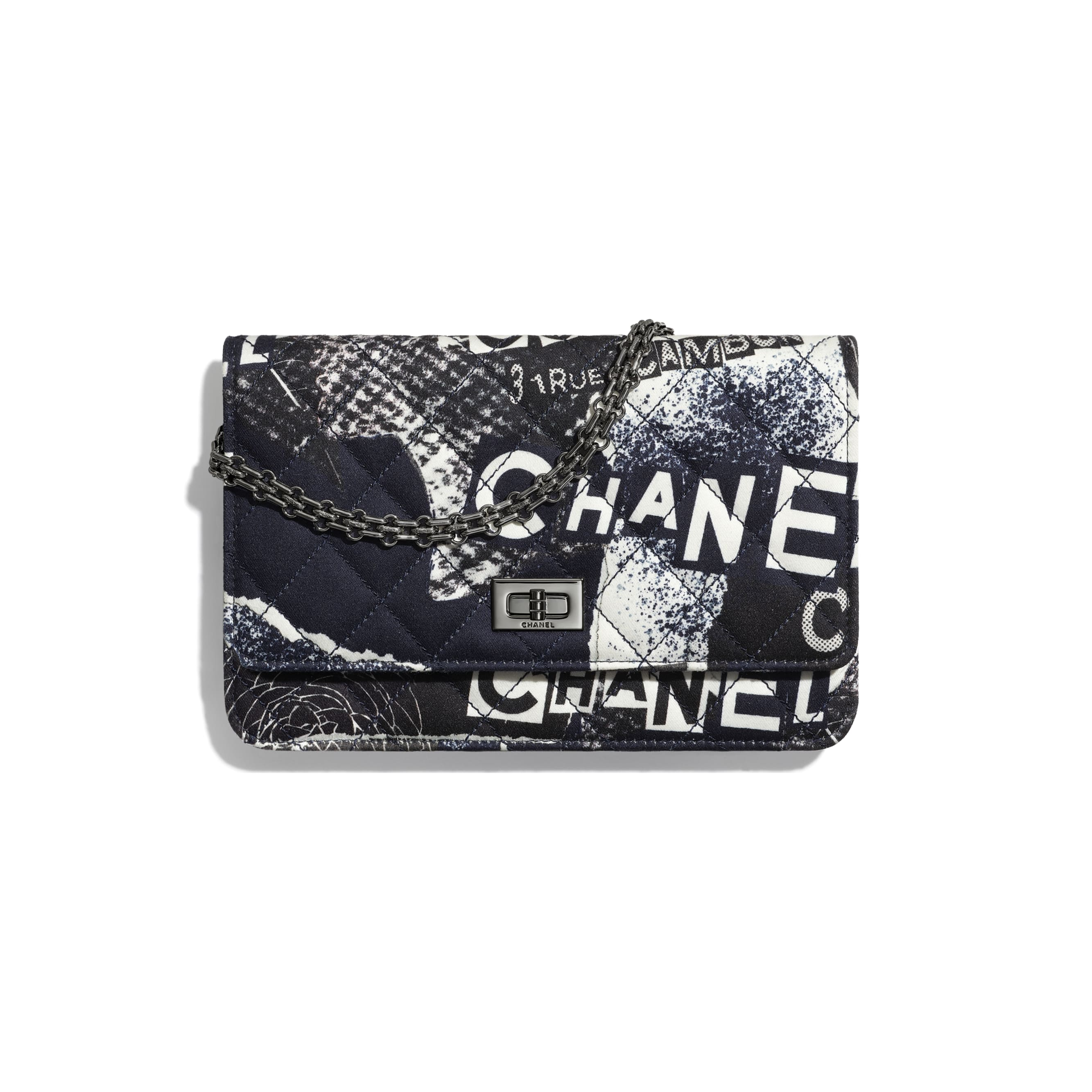 2.55 Wallet On Chain - White, Black, Navy Blue & Silver - Printed fabric & ruthenium-finish metal - Default view - see standard sized version