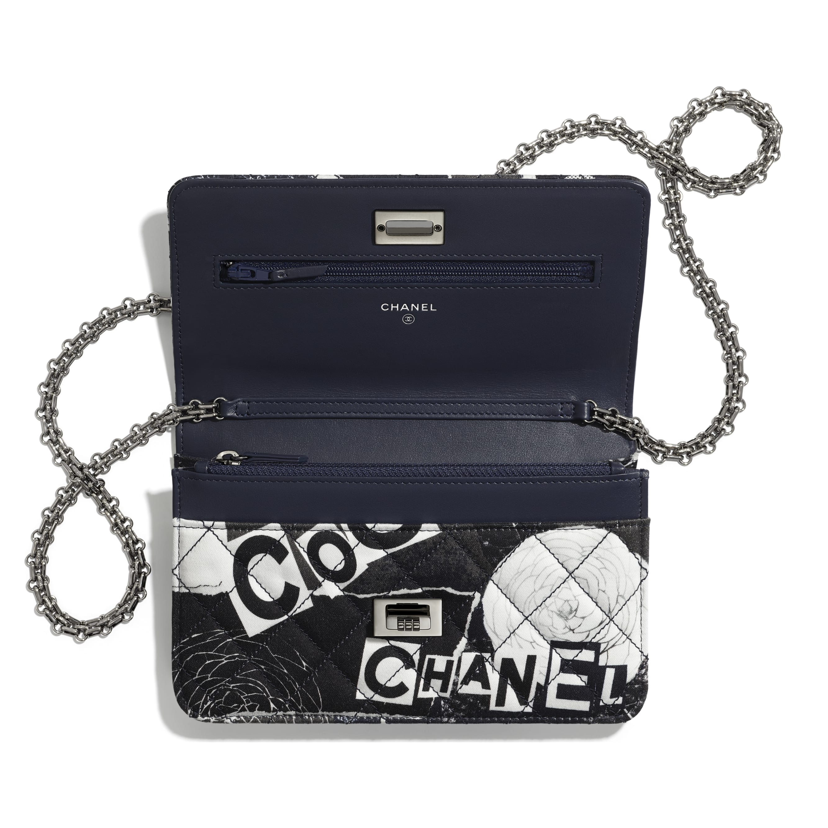 2.55 Wallet On Chain - White, Black, Navy Blue & Silver - Printed fabric & ruthenium-finish metal - Other view - see standard sized version