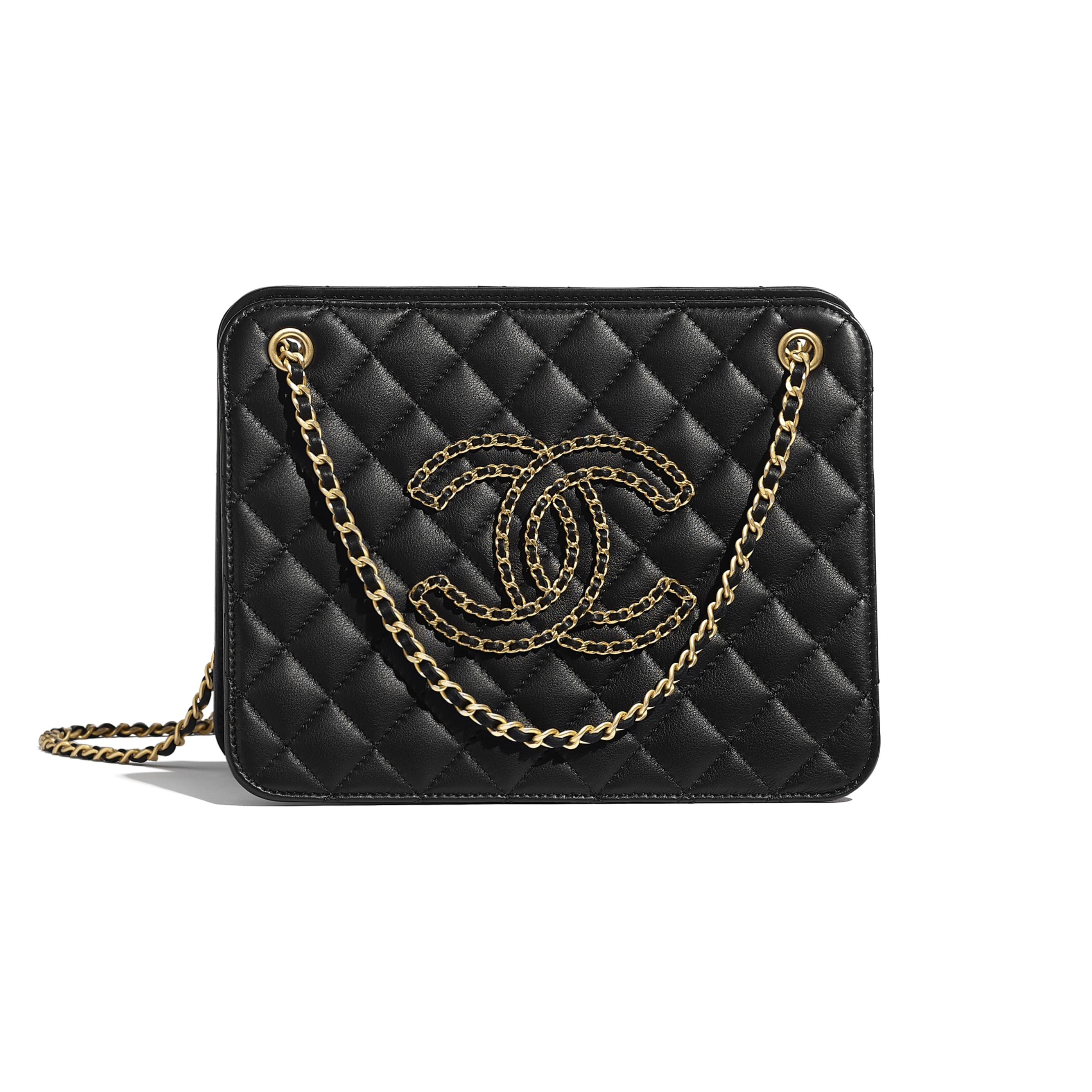 Accordion Handbag - Black - Calfskin & Gold-Tone Metal - CHANEL - Default view - see standard sized version