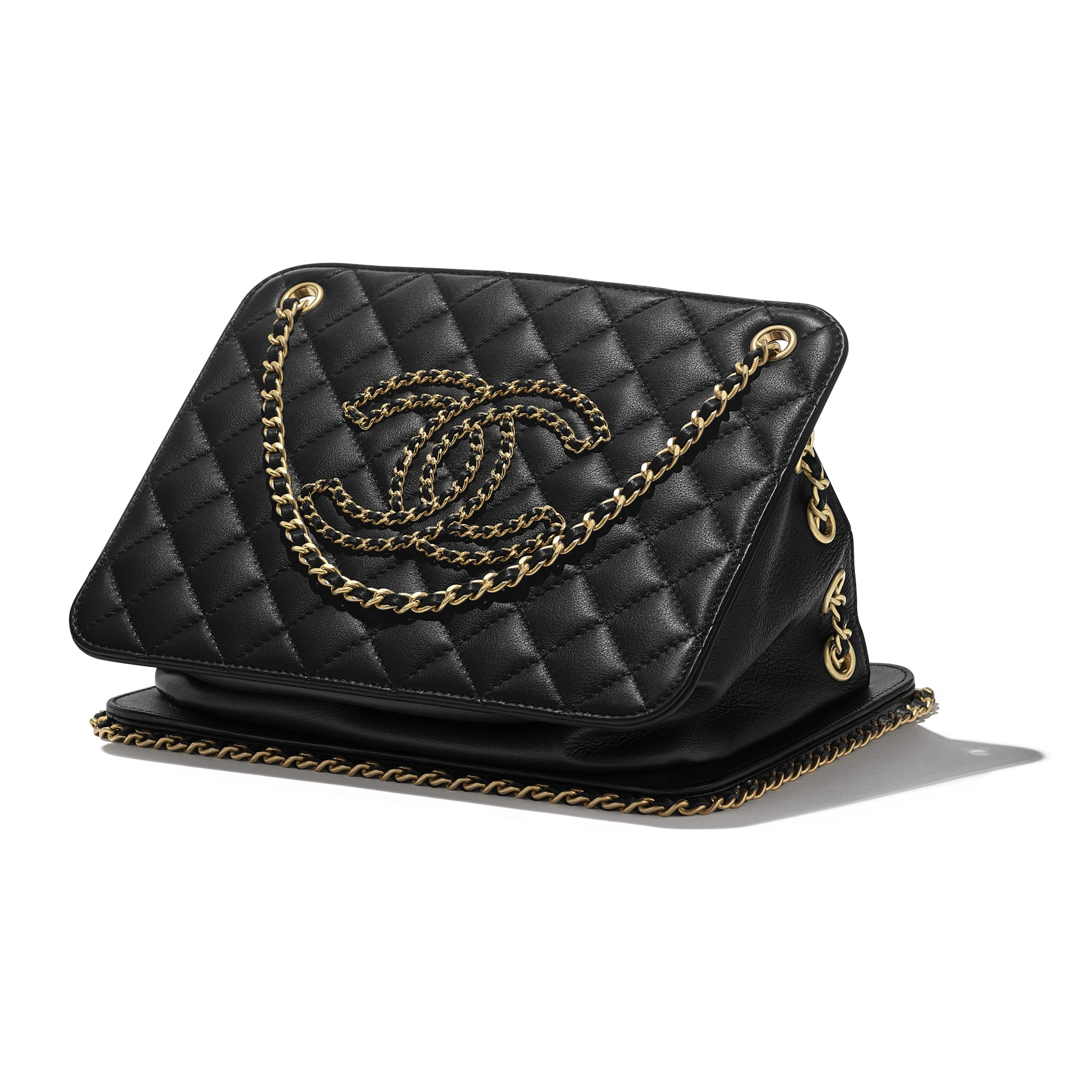 Accordion Handbag - Black - Calfskin & Gold-Tone Metal - CHANEL - Extra view - see standard sized version