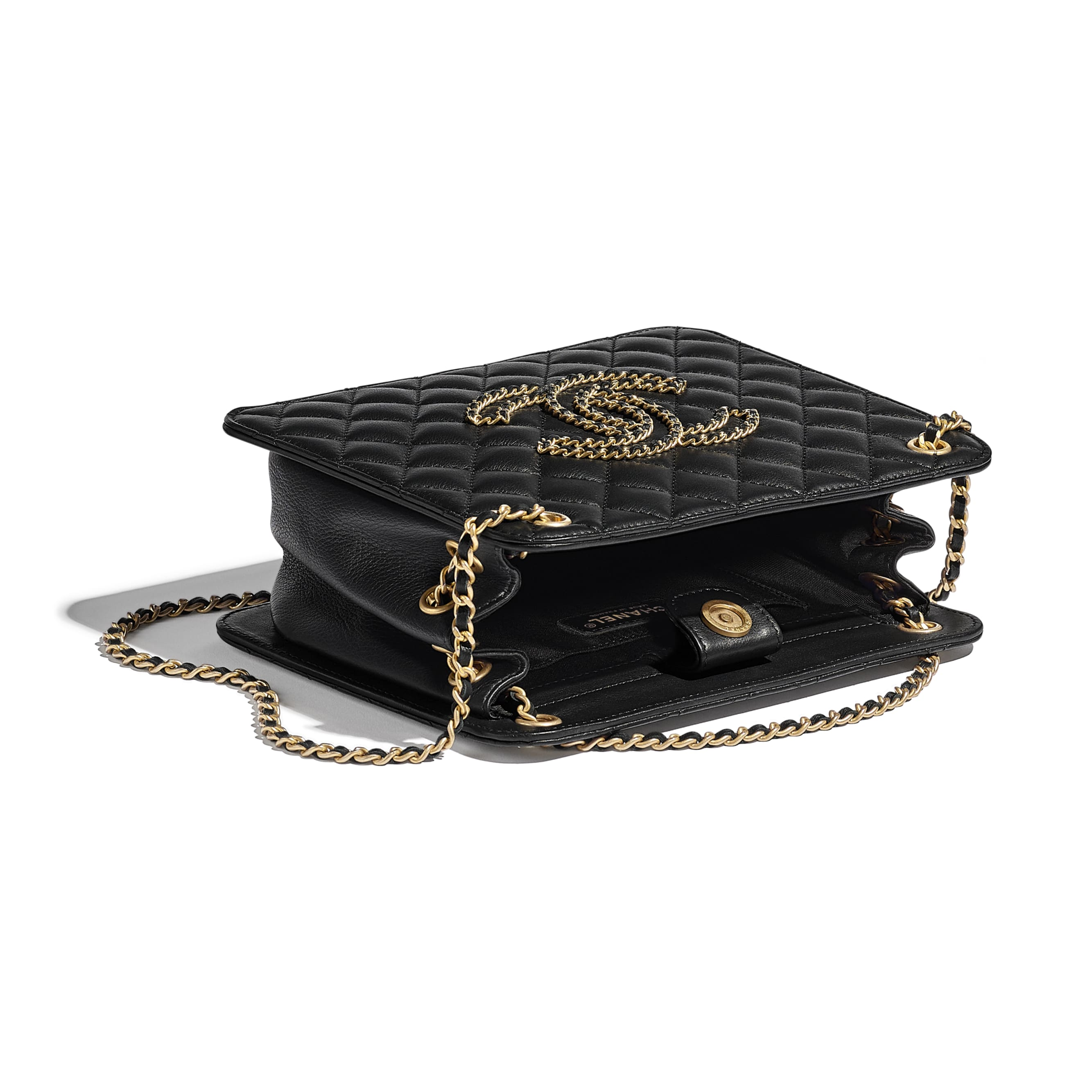 Accordion Handbag - Black - Calfskin & Gold-Tone Metal - CHANEL - Other view - see standard sized version