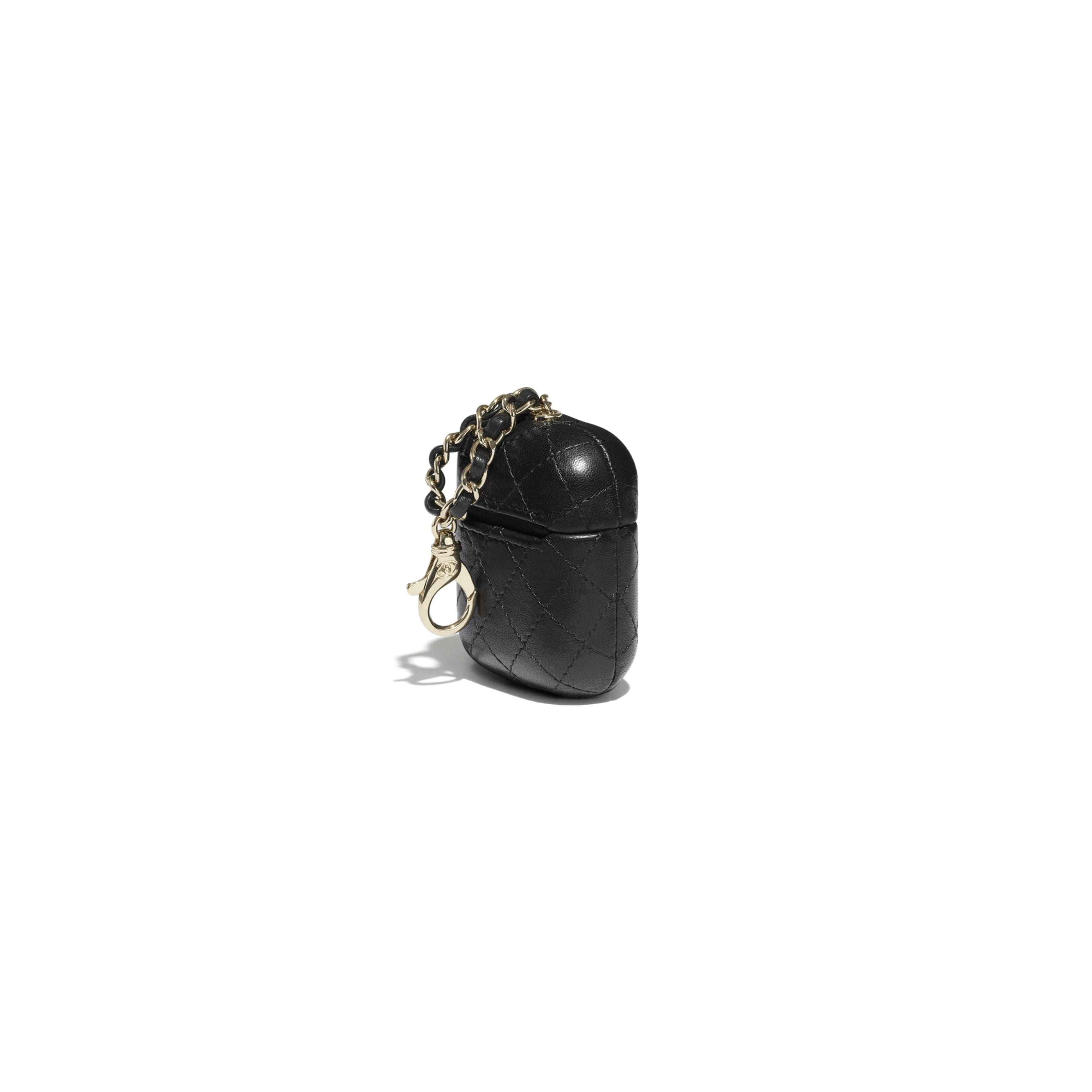 AirPods Case - Black - Lambskin - CHANEL - Extra view - see standard sized version