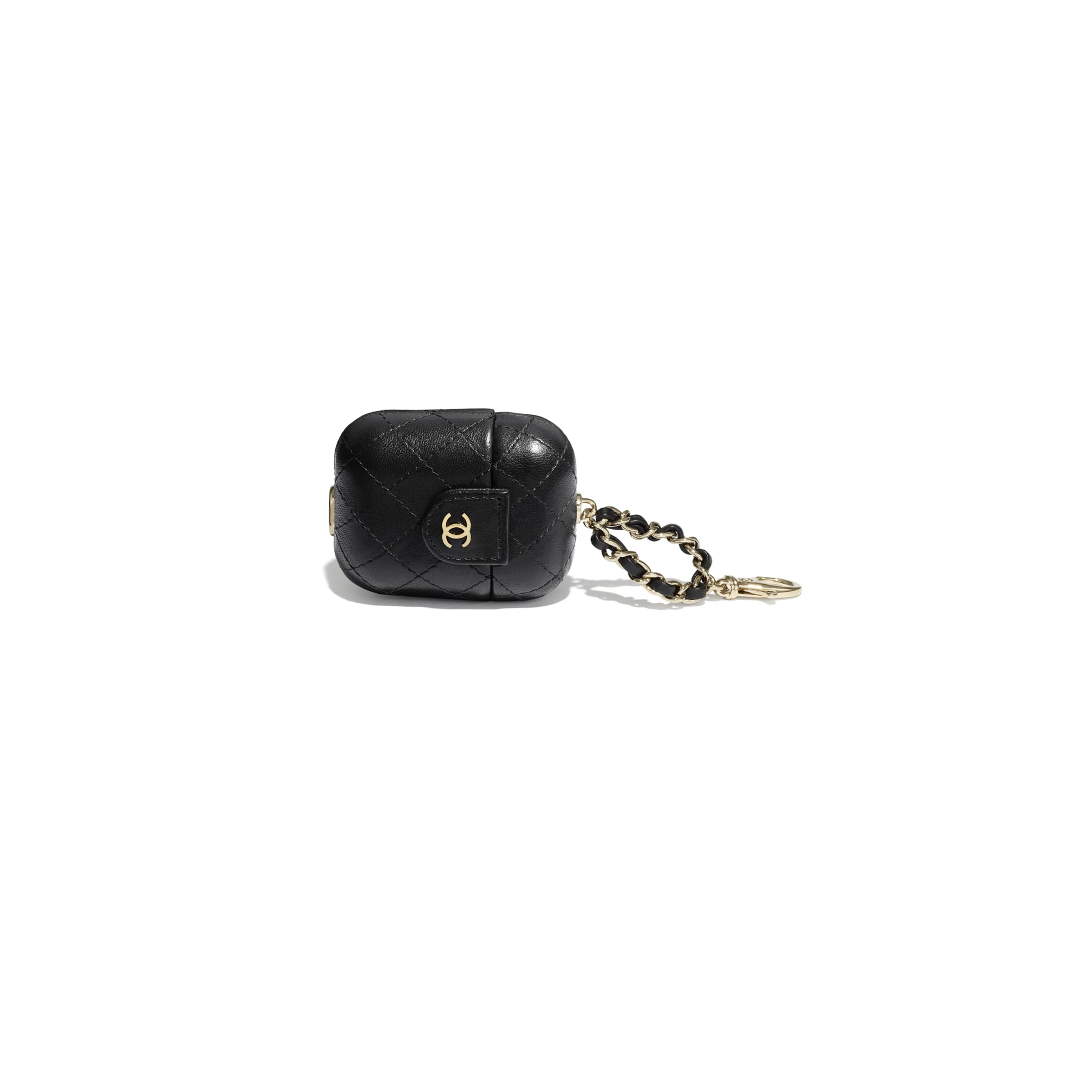 AirPods Case - Black - Lambskin - CHANEL - Other view - see standard sized version