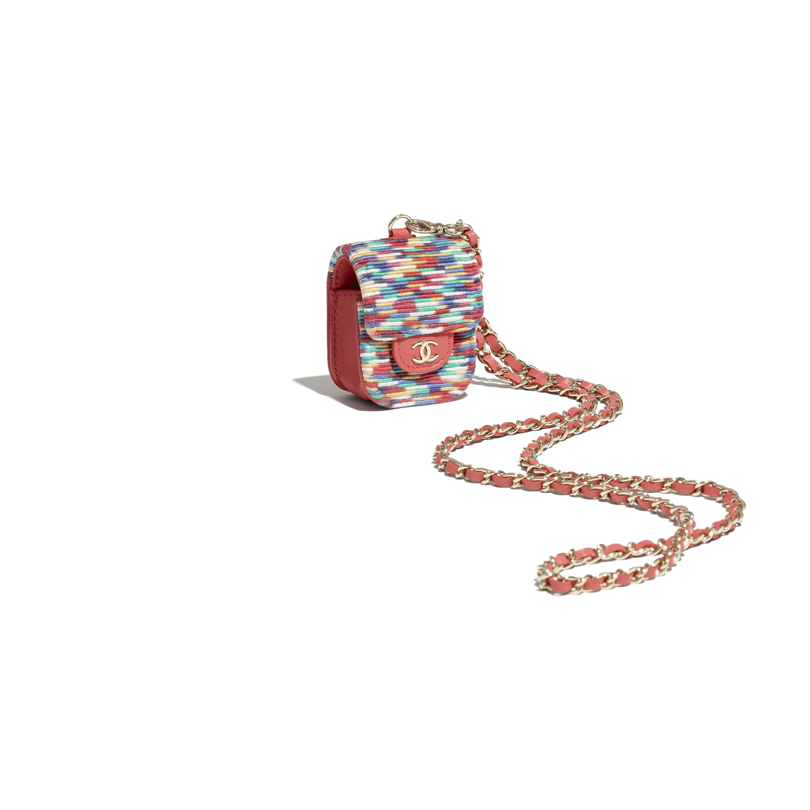 AirPods Case - Multicolour - Embroidered Thread & Gold-Tone Metal - CHANEL - Other view - see standard sized version
