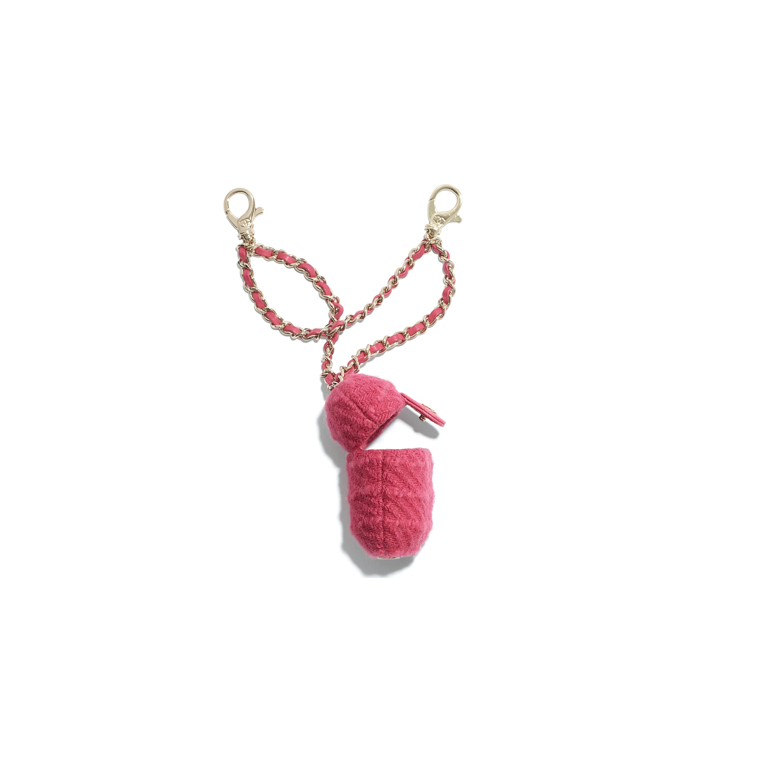 AirPods Case - Raspberry Pink - Wool Tweed & Gold-Tone Metal - CHANEL - Alternative view - see standard sized version