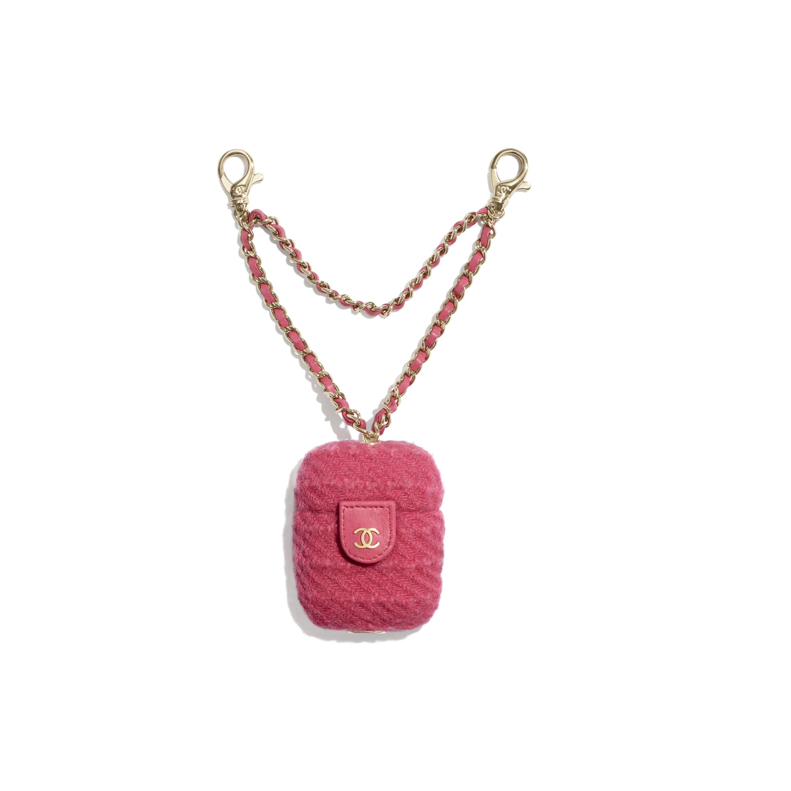 AirPods Case - Raspberry Pink - Wool Tweed & Gold-Tone Metal - CHANEL - Default view - see standard sized version