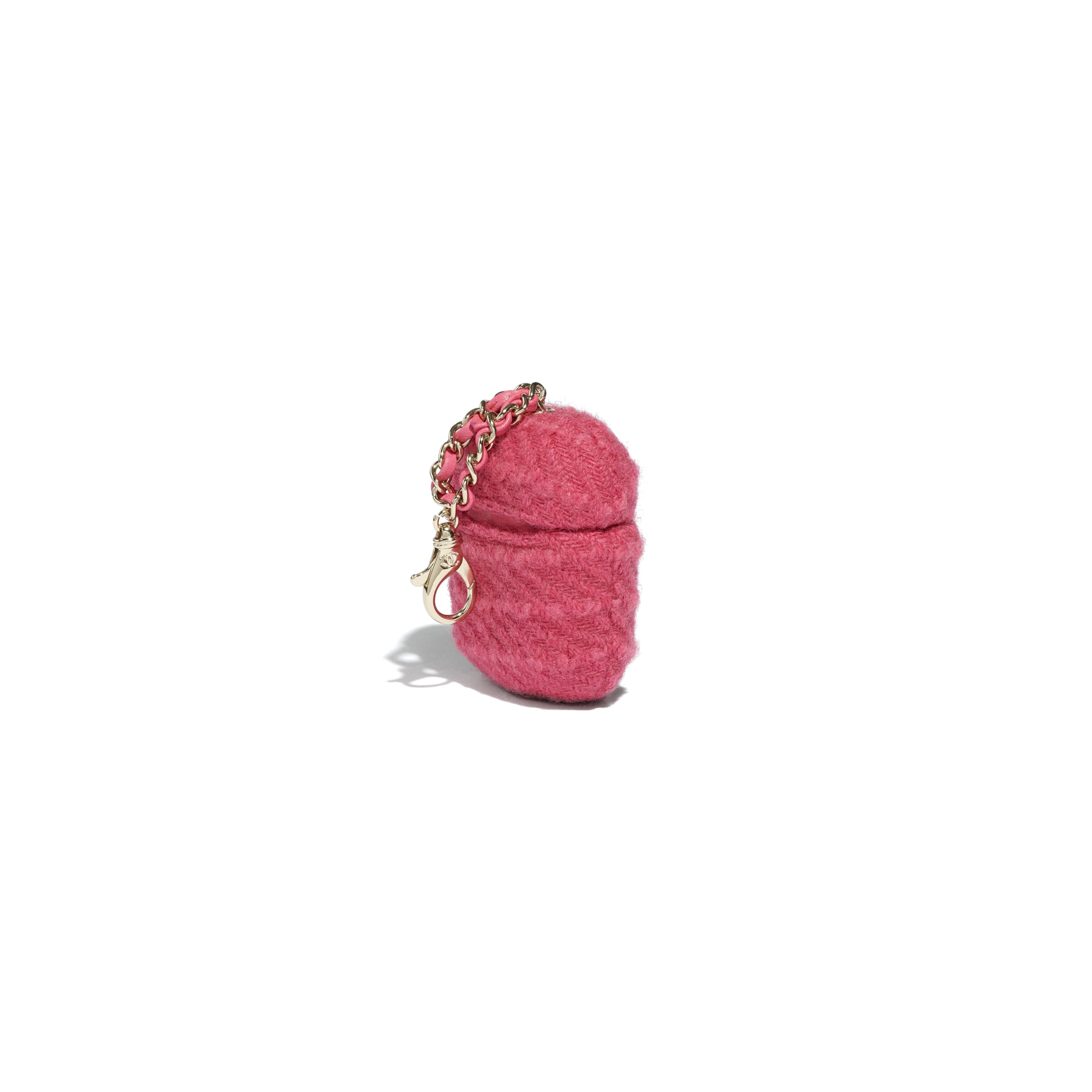 AirPods Case - Raspberry Pink - Wool Tweed & Gold-Tone Metal - CHANEL - Extra view - see standard sized version
