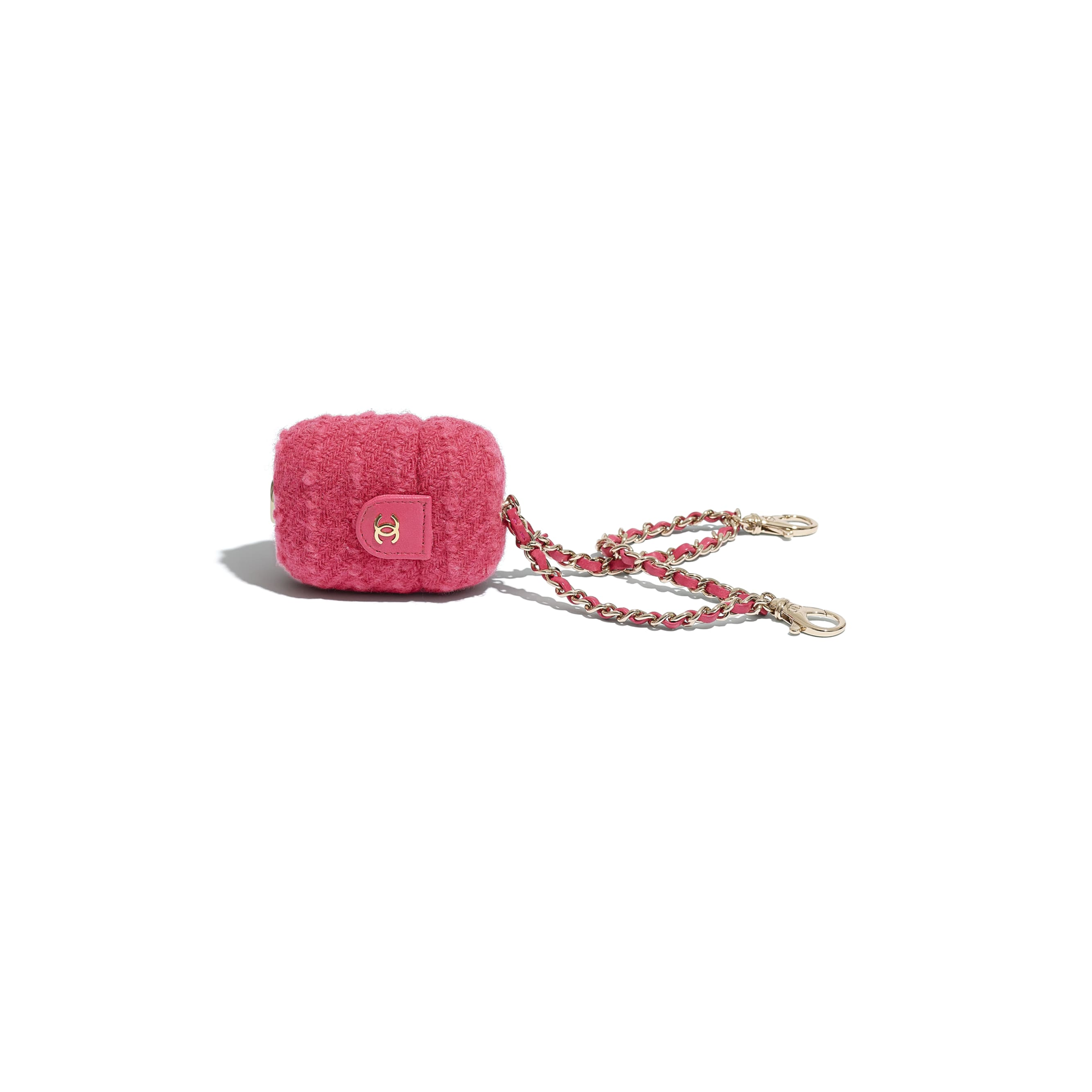 AirPods Case - Raspberry Pink - Wool Tweed & Gold-Tone Metal - CHANEL - Other view - see standard sized version