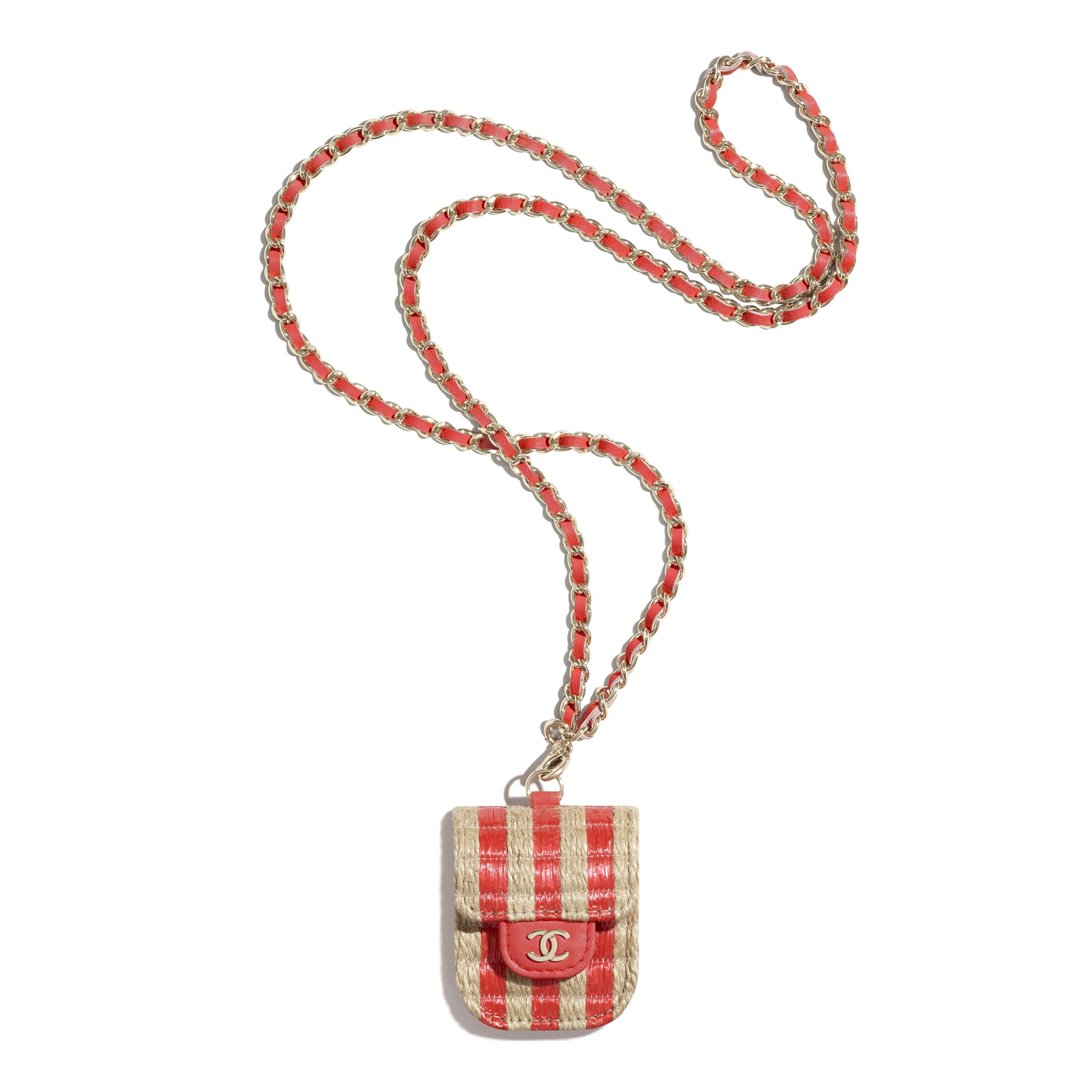 AirPods Case - Red & Beige - Raffia, Jute Thread & Gold-Tone Metal - CHANEL - Default view - see standard sized version