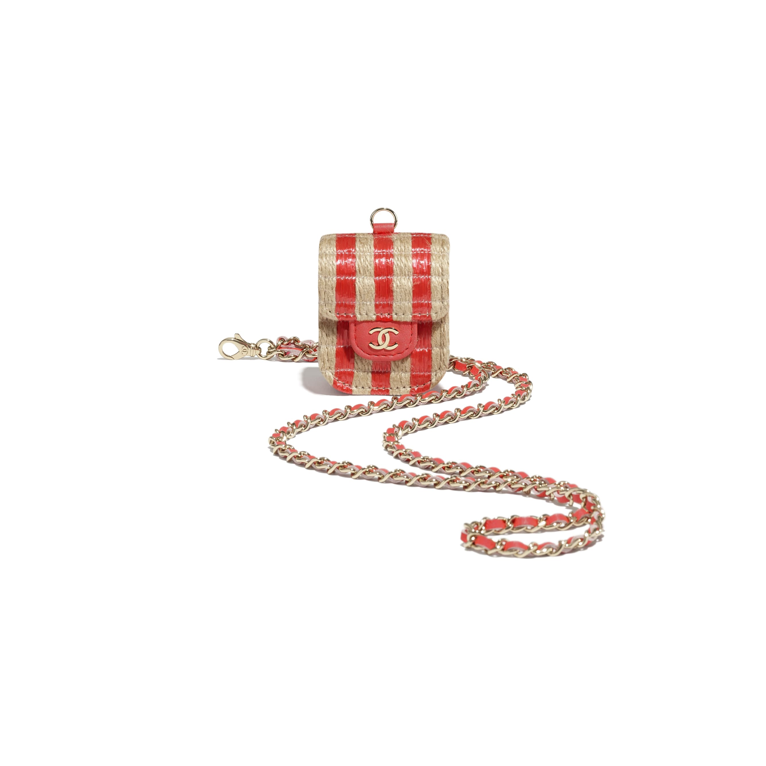 AirPods Case - Red & Beige - Raffia, Jute Thread & Gold-Tone Metal - CHANEL - Extra view - see standard sized version