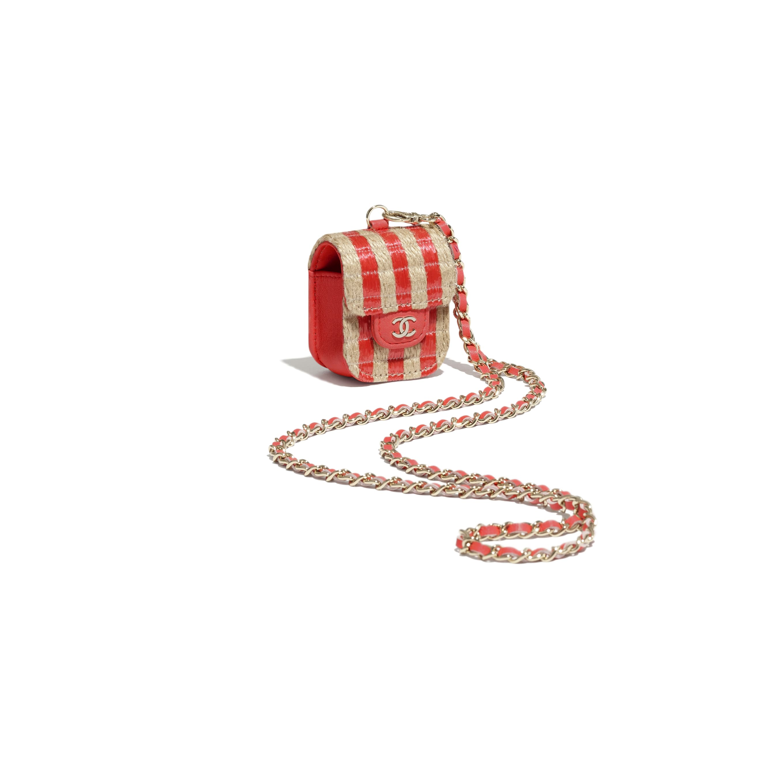 AirPods Case - Red & Beige - Raffia, Jute Thread & Gold-Tone Metal - CHANEL - Other view - see standard sized version