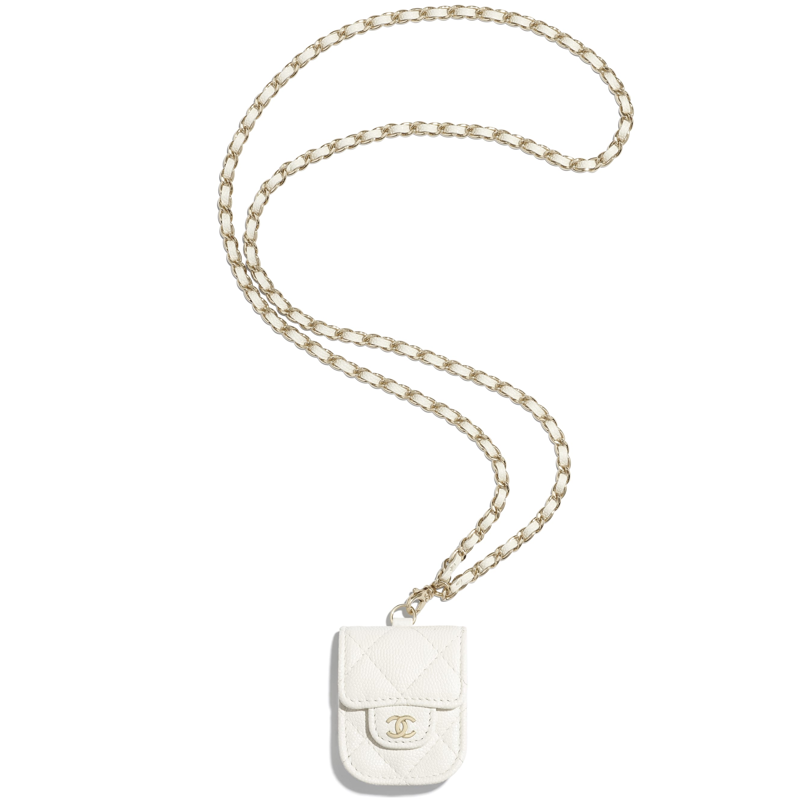 AirPods Case - White - Grained Calfskin & Gold-Tone Metal - CHANEL - Default view - see standard sized version