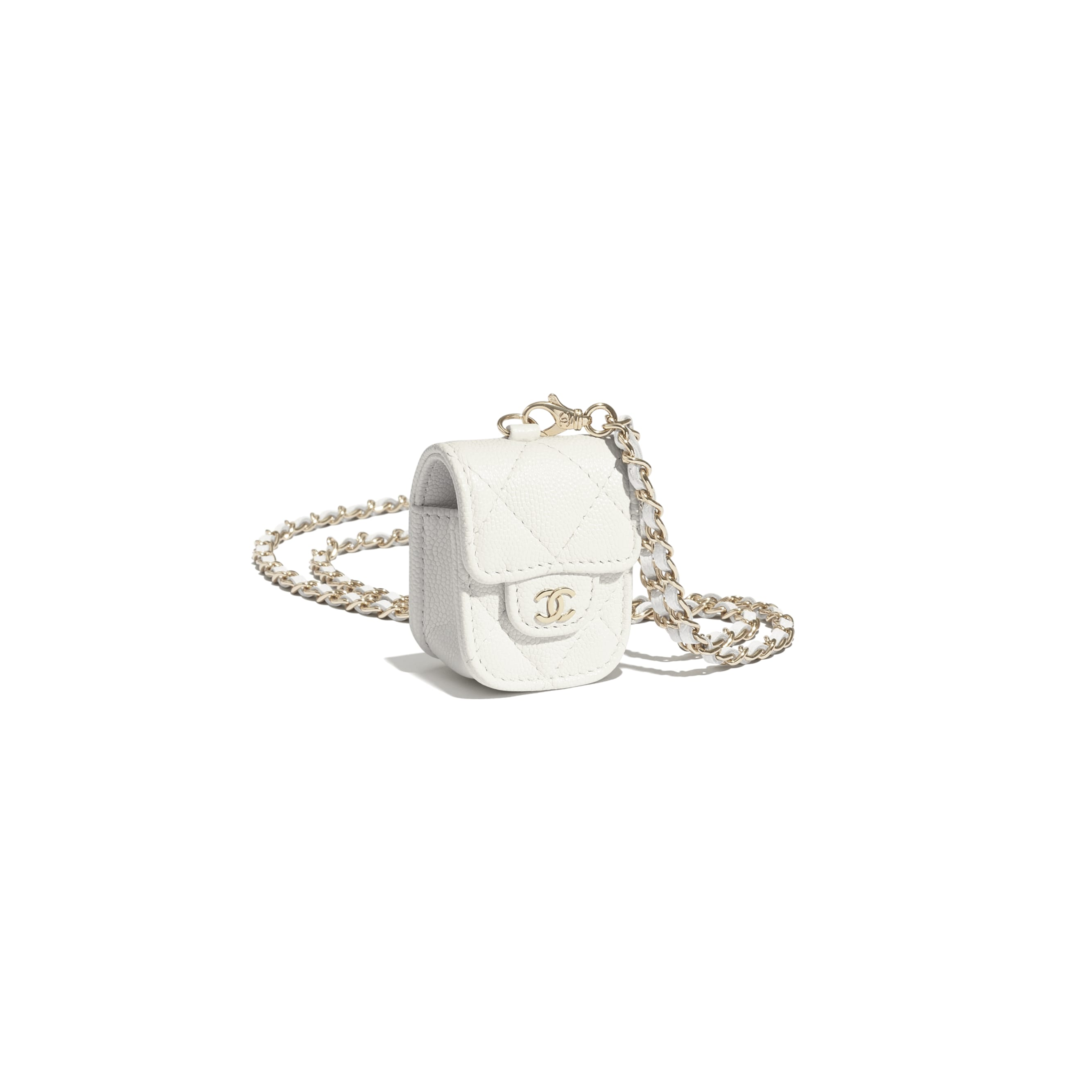 AirPods Case - White - Grained Shiny Calfskin & Gold-Tone Metal - CHANEL - Other view - see standard sized version