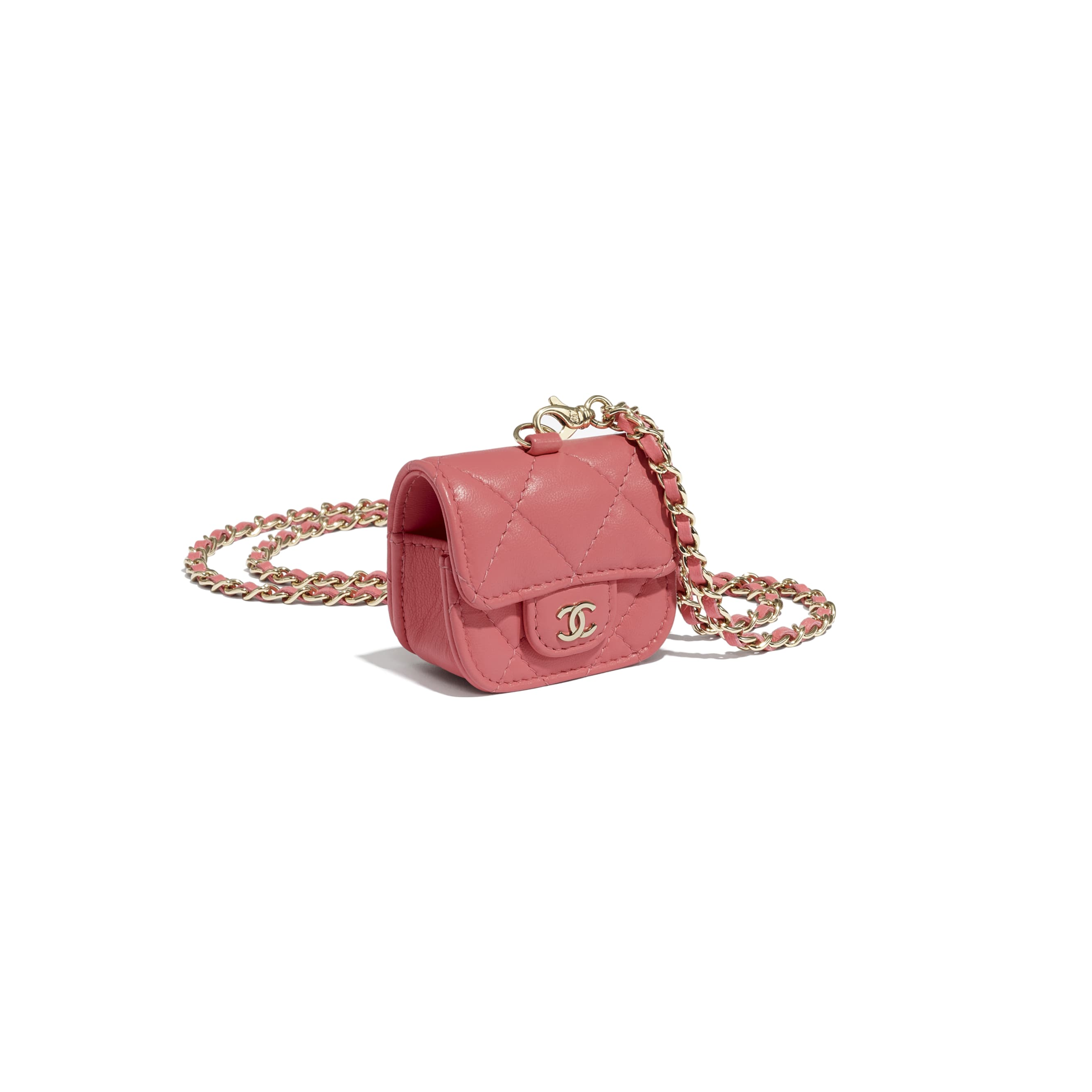 AirPods Pro Case - Coral - Lambskin - CHANEL - Other view - see standard sized version