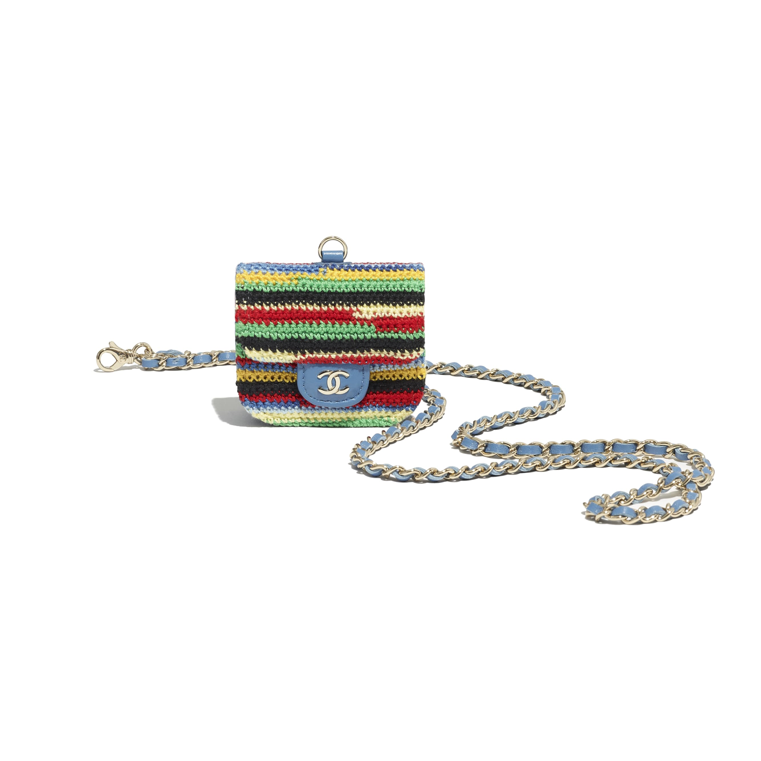 AirPods Pro Case - Multicolour - Embroidered Crochet & Gold-Tone Metal - CHANEL - Extra view - see standard sized version