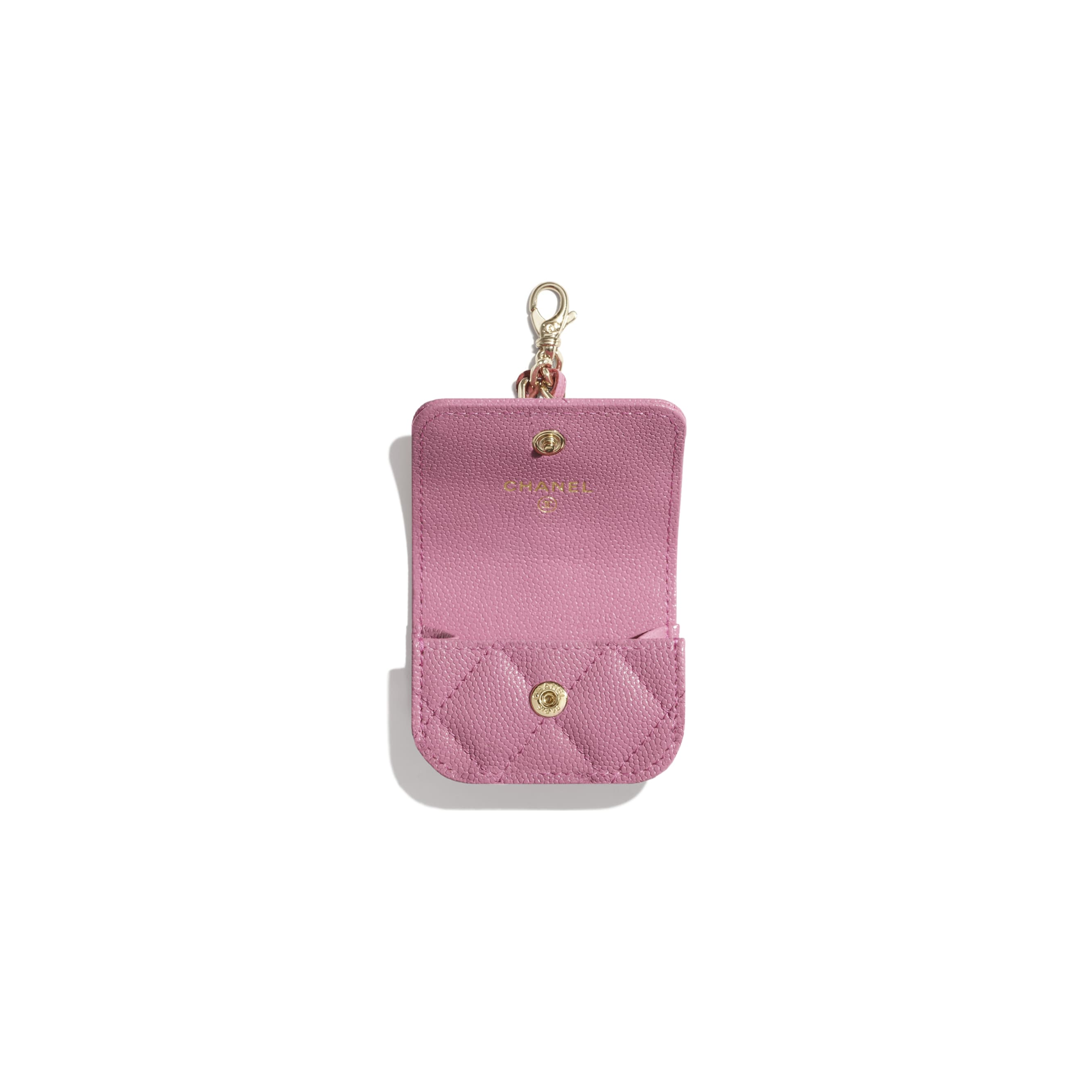 AirPods Pro Case - Pink - Grained Calfskin & Laquered Gold-Tone Metal - CHANEL - Alternative view - see standard sized version