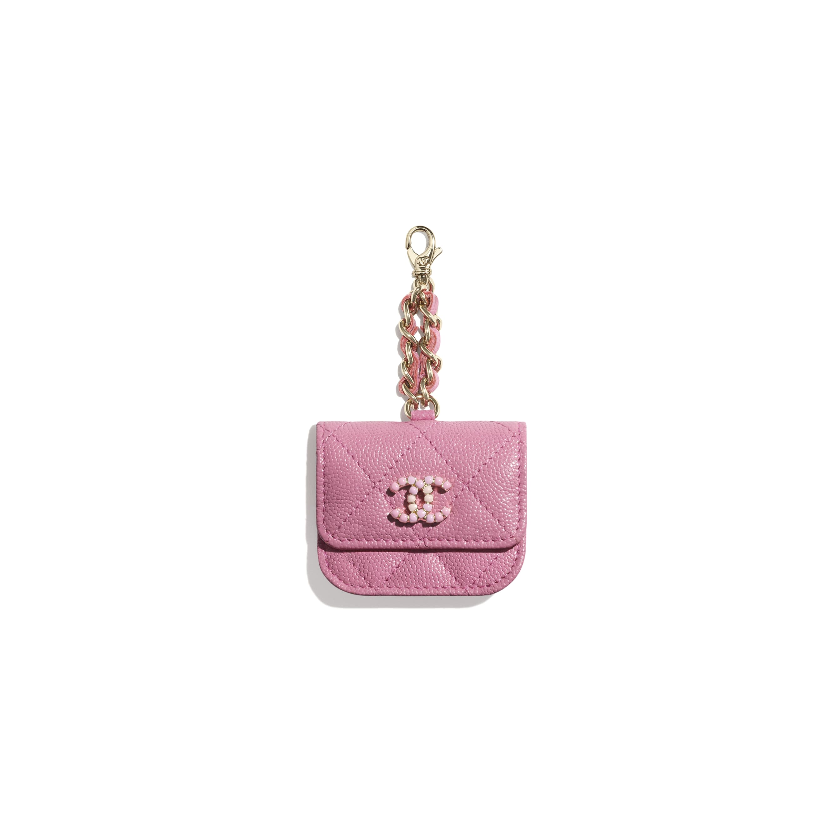 AirPods Pro Case - Pink - Grained Calfskin & Laquered Gold-Tone Metal - CHANEL - Default view - see standard sized version