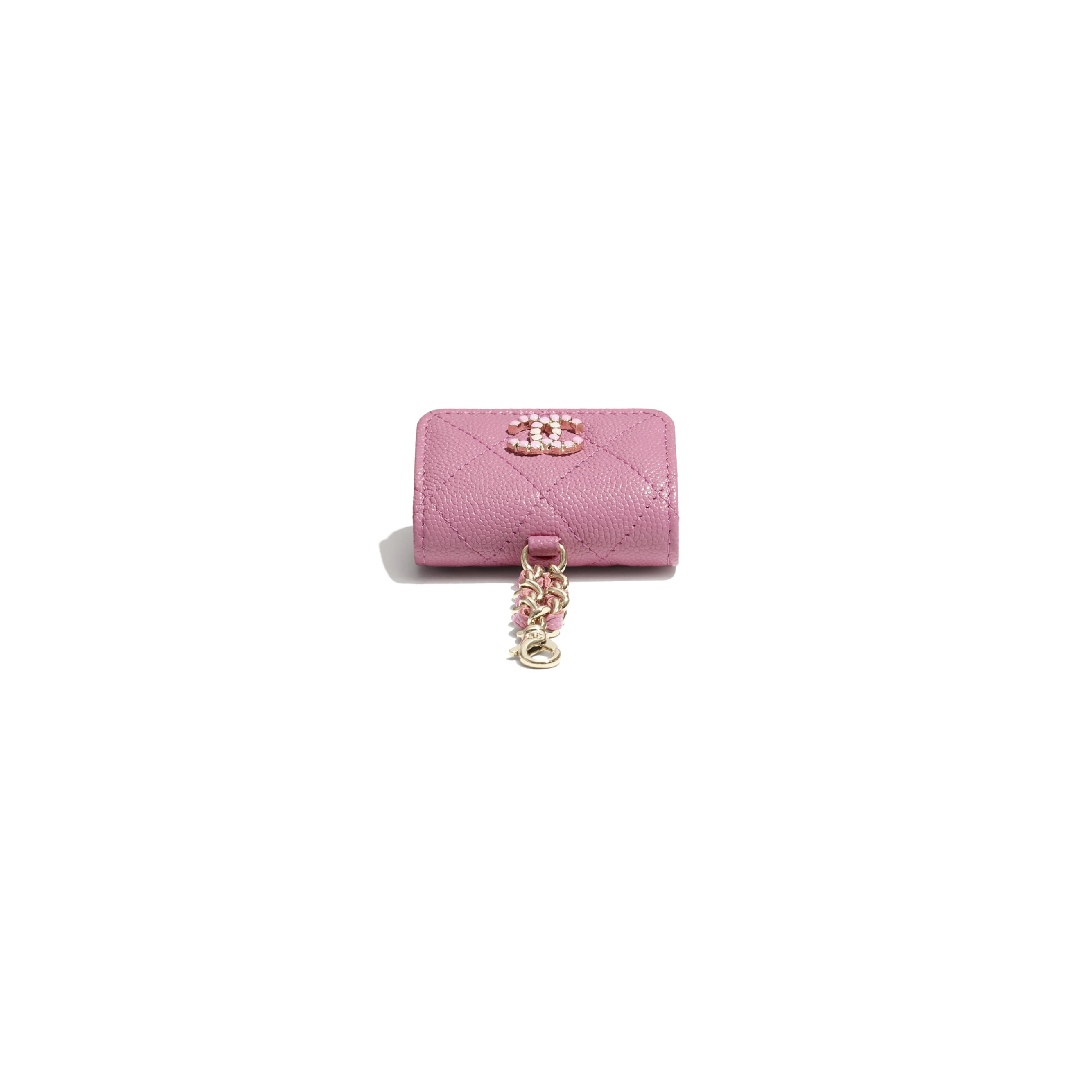 AirPods Pro Case - Pink - Grained Calfskin & Laquered Gold-Tone Metal - CHANEL - Extra view - see standard sized version