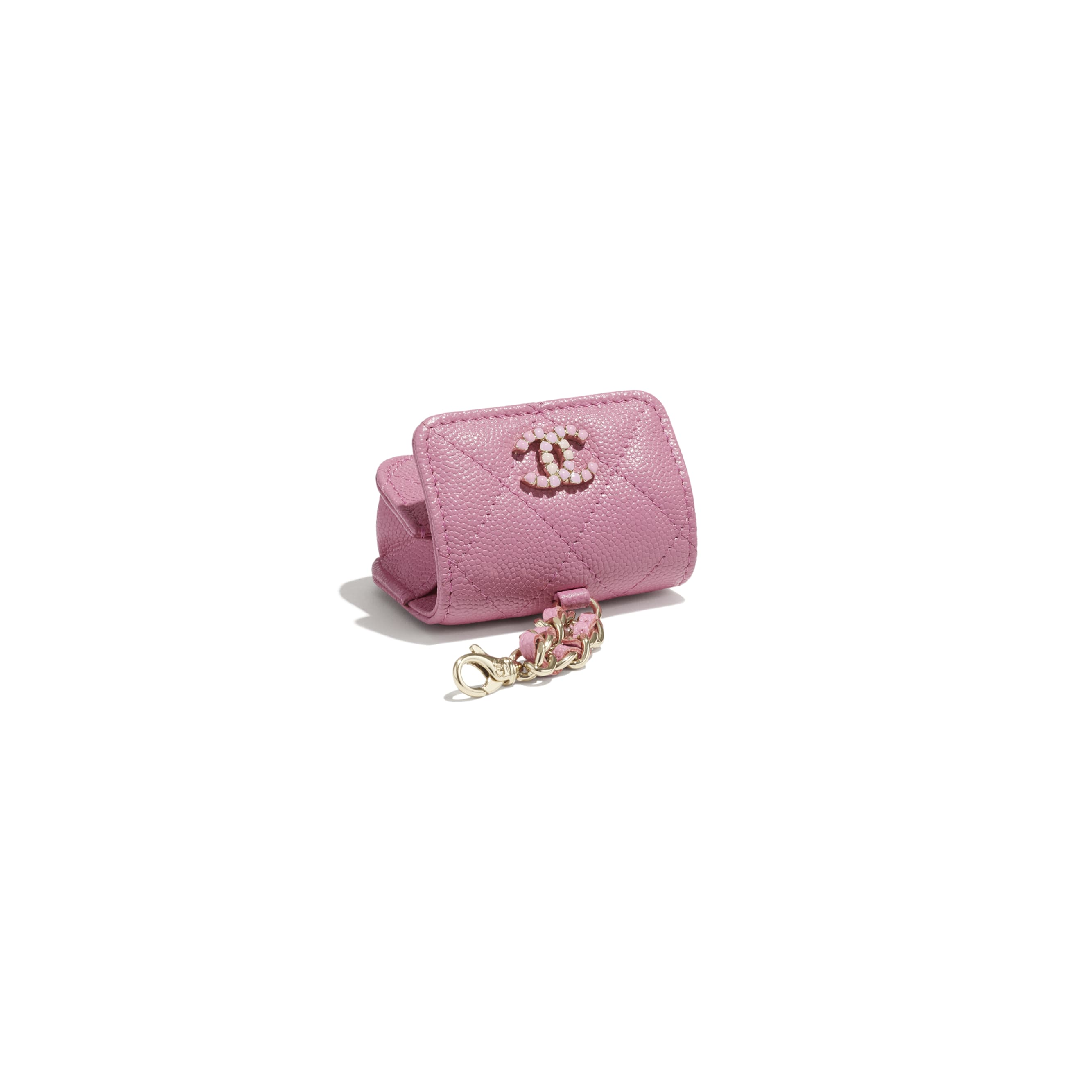 AirPods Pro Case - Pink - Grained Calfskin & Laquered Gold-Tone Metal - CHANEL - Other view - see standard sized version