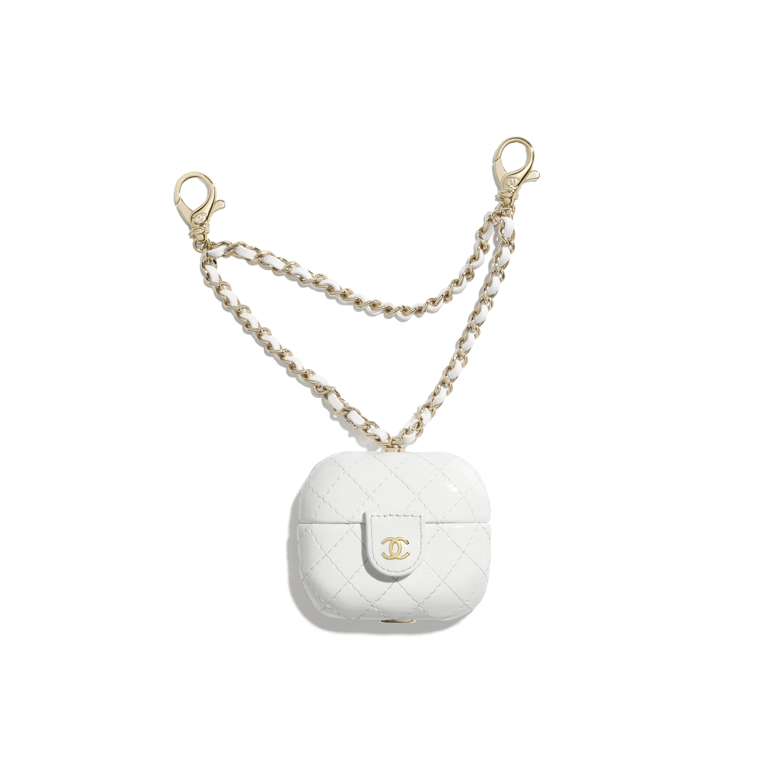 AirPods Pro Case - White - Shiny Crumpled Calfskin & Gold-Tone Metal - CHANEL - Default view - see standard sized version
