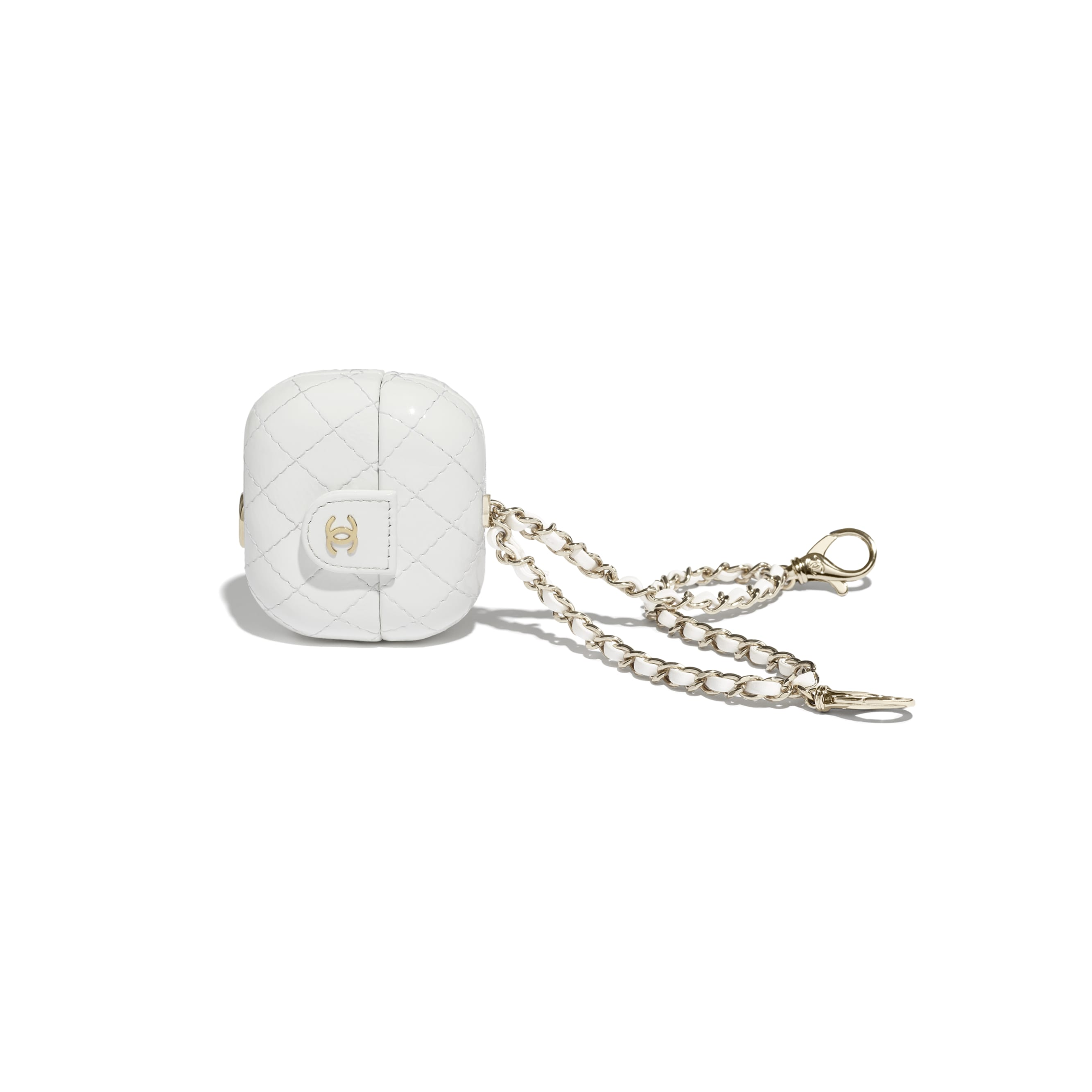AirPods Pro Case - White - Shiny Crumpled Calfskin & Gold-Tone Metal - CHANEL - Other view - see standard sized version