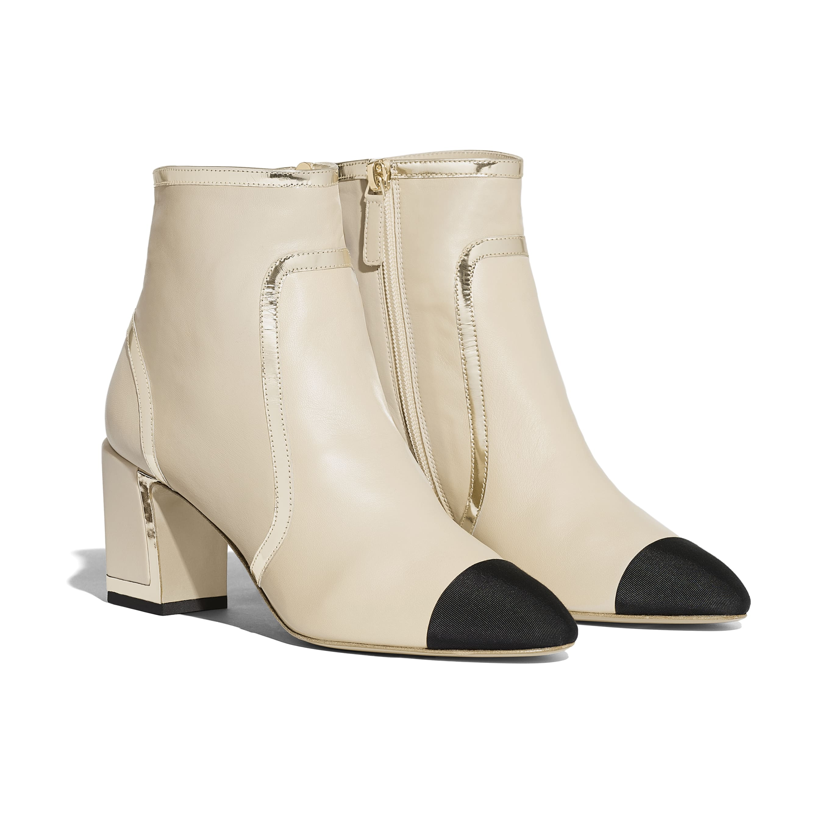 Ankle Boots - Beige & Black - Laminated Lambskin - Alternative view - see standard sized version