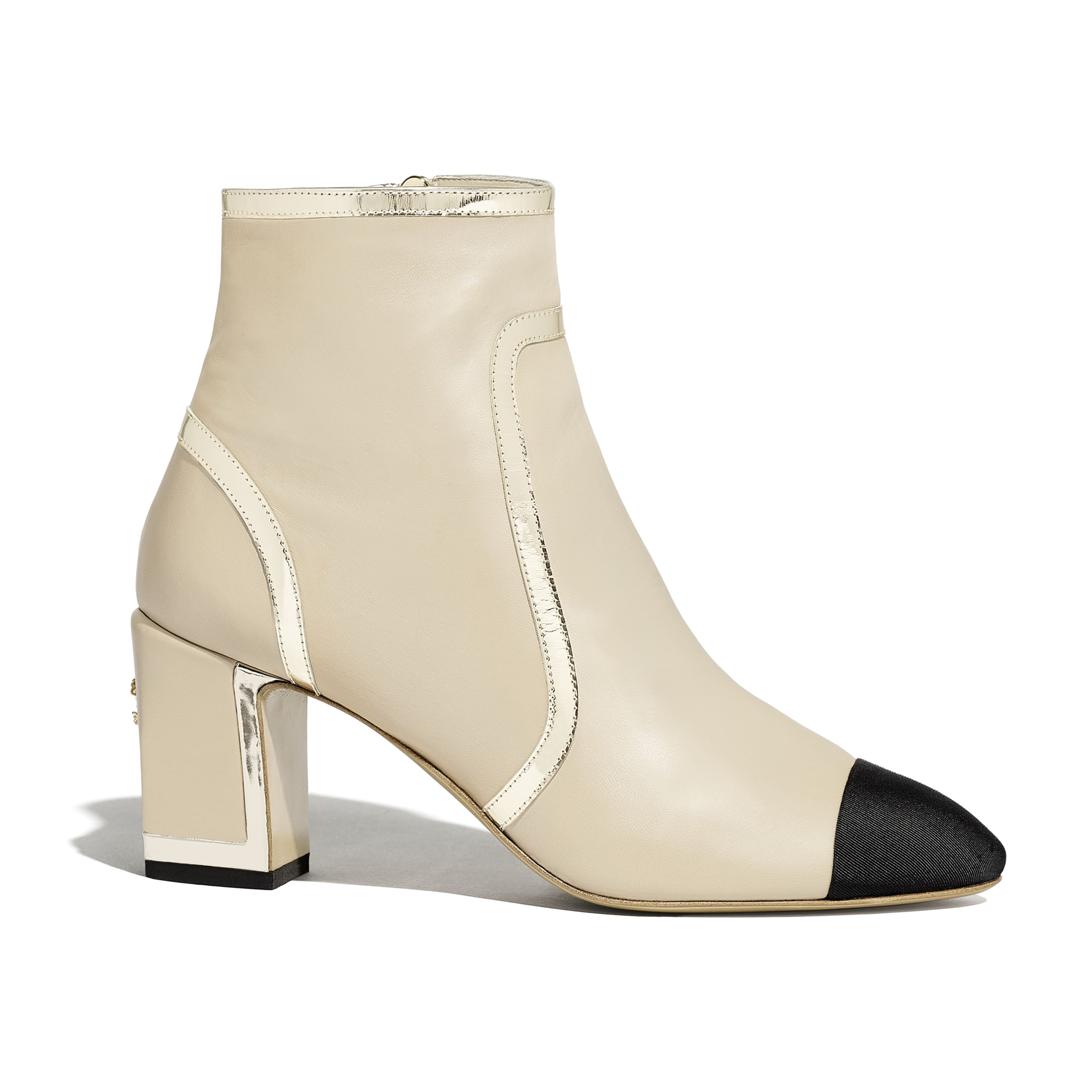 Ankle Boots - Beige & Black - Laminated Lambskin - Default view - see standard sized version