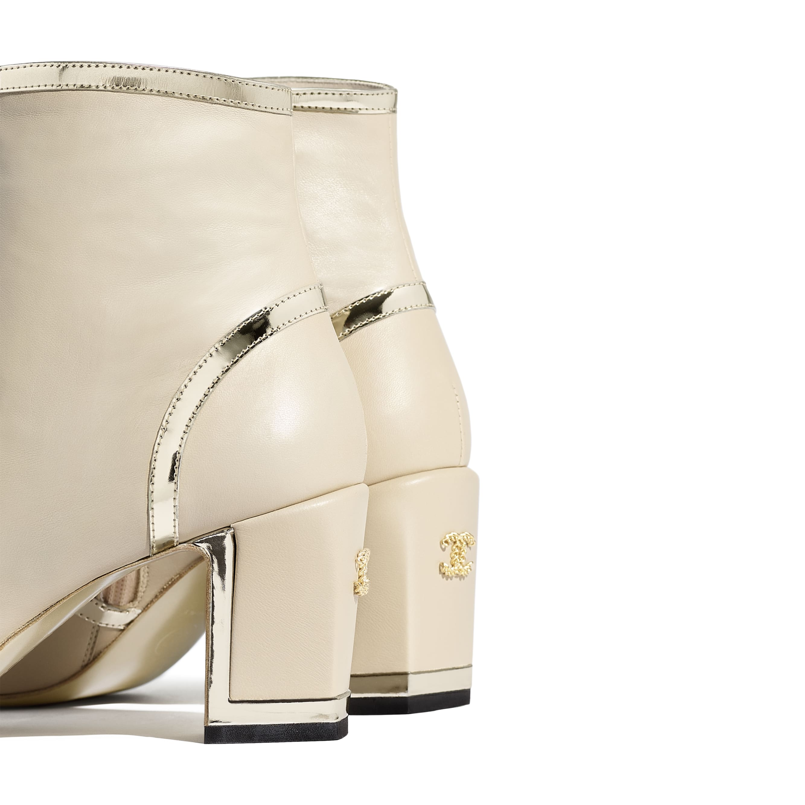 Ankle Boots - Beige & Black - Laminated Lambskin - Extra view - see standard sized version