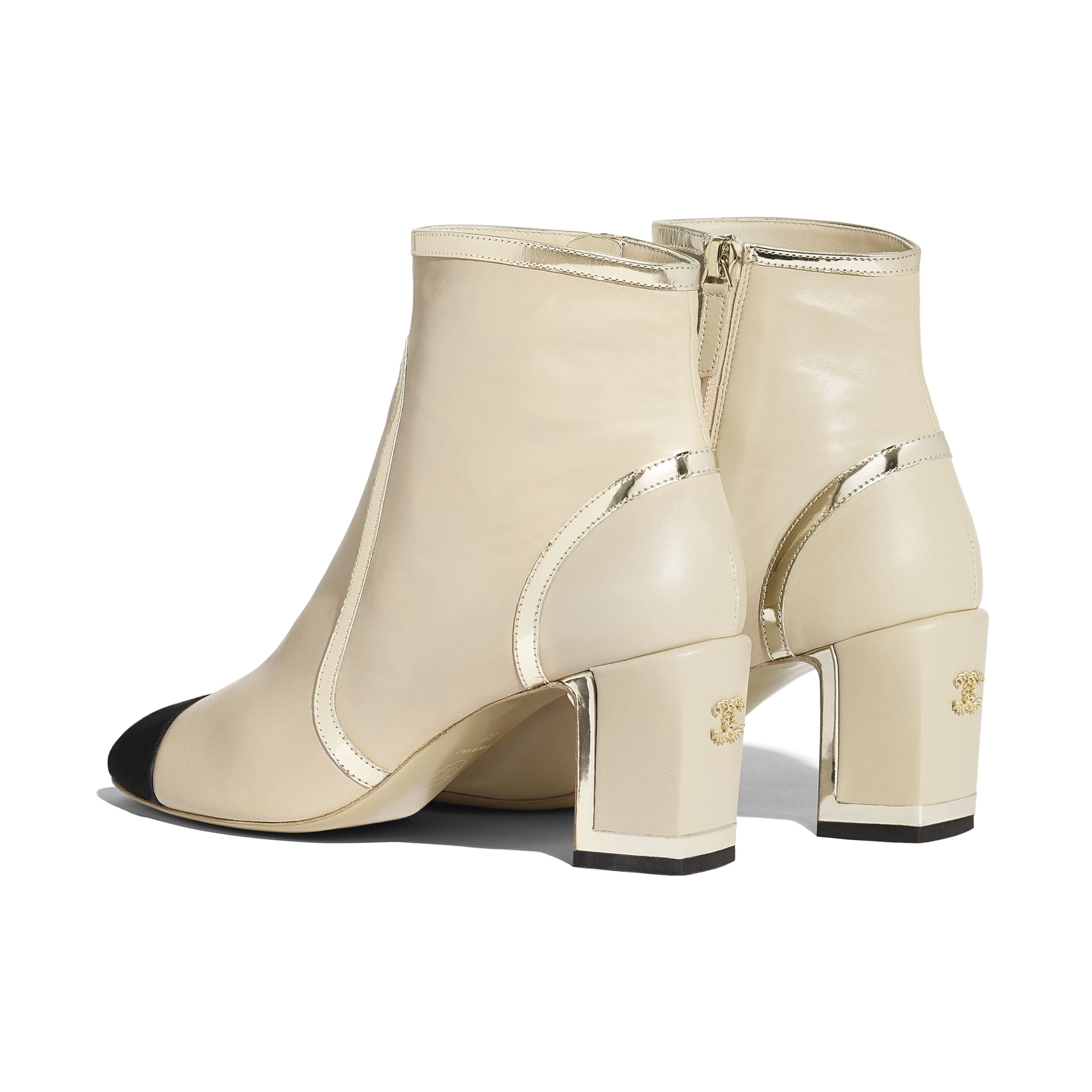 Ankle Boots - Beige & Black - Laminated Lambskin - Other view - see standard sized version