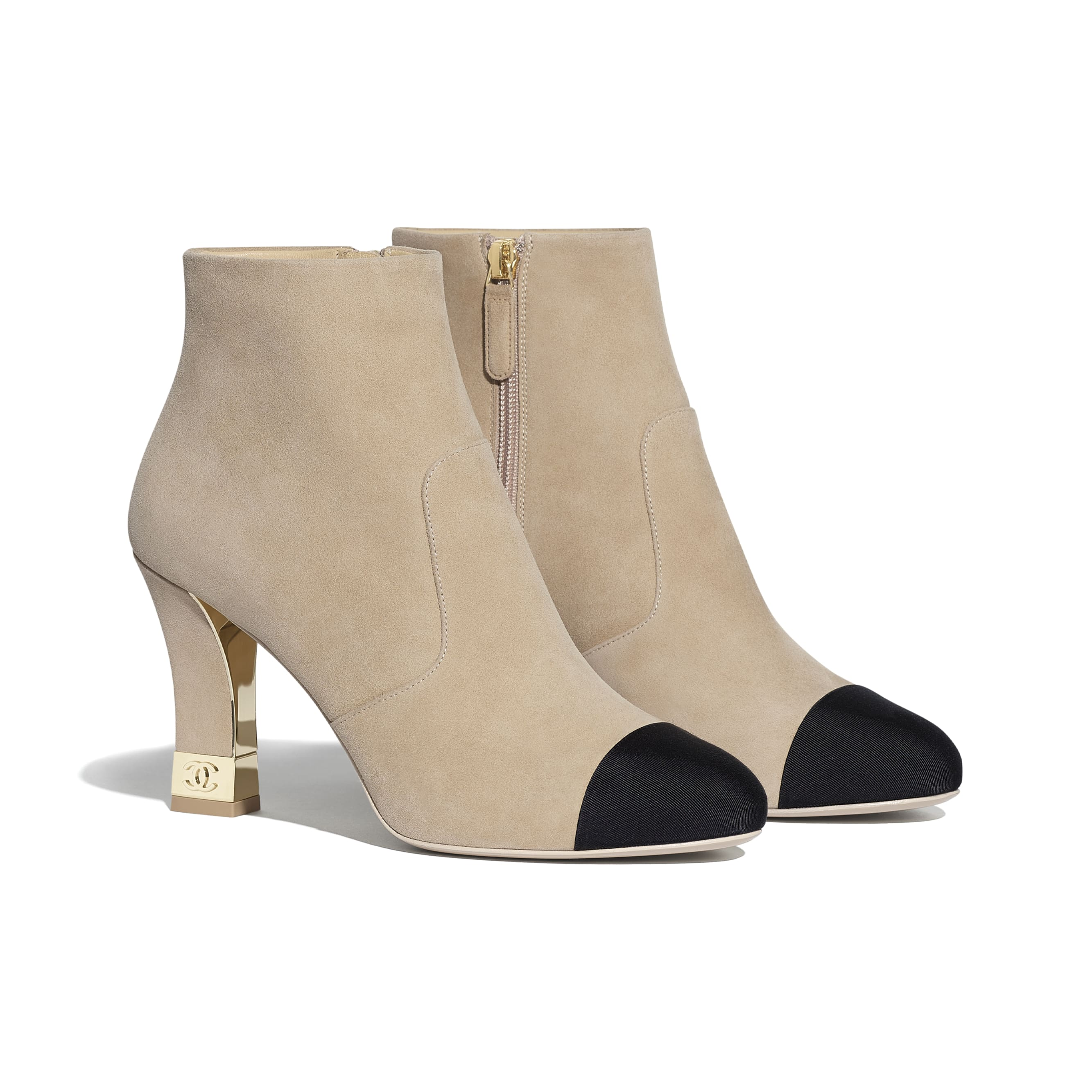 Ankle Boots - Beige & Black - Suede Kidskin & Grosgrain - CHANEL - Alternative view - see standard sized version