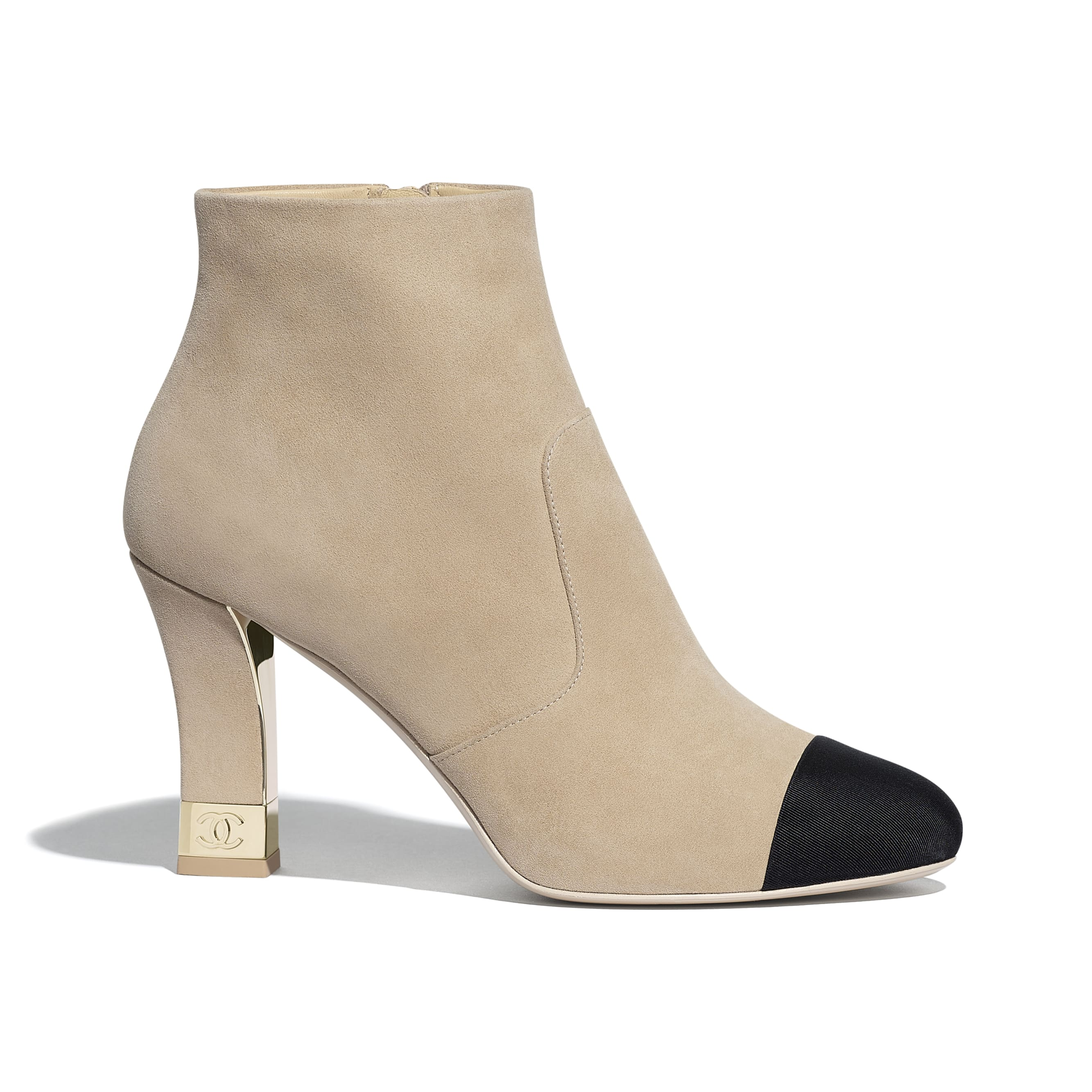 Ankle Boots - Beige & Black - Suede Kidskin & Grosgrain - CHANEL - Default view - see standard sized version
