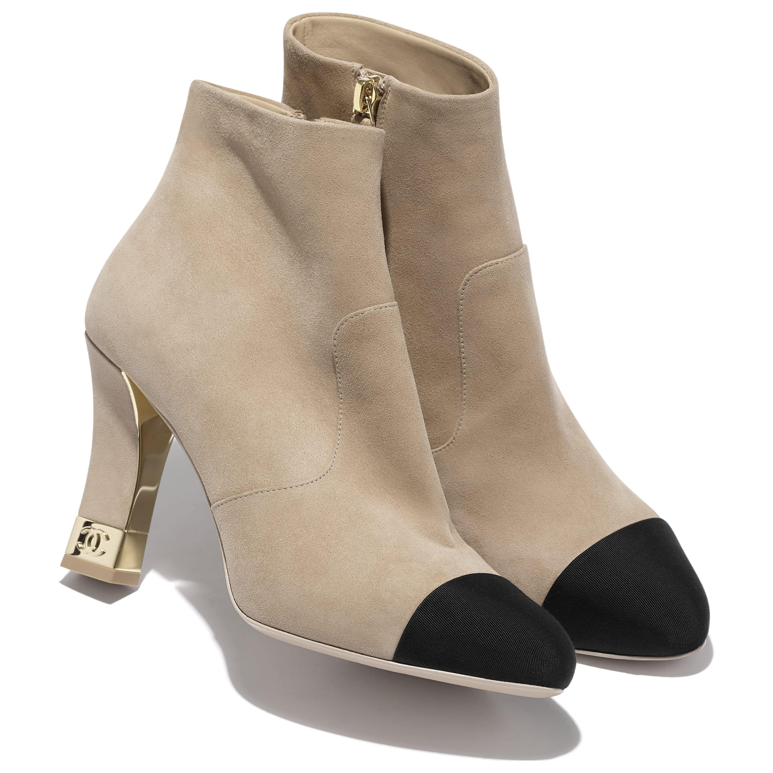 Ankle Boots - Beige & Black - Suede Kidskin & Grosgrain - CHANEL - Extra view - see standard sized version