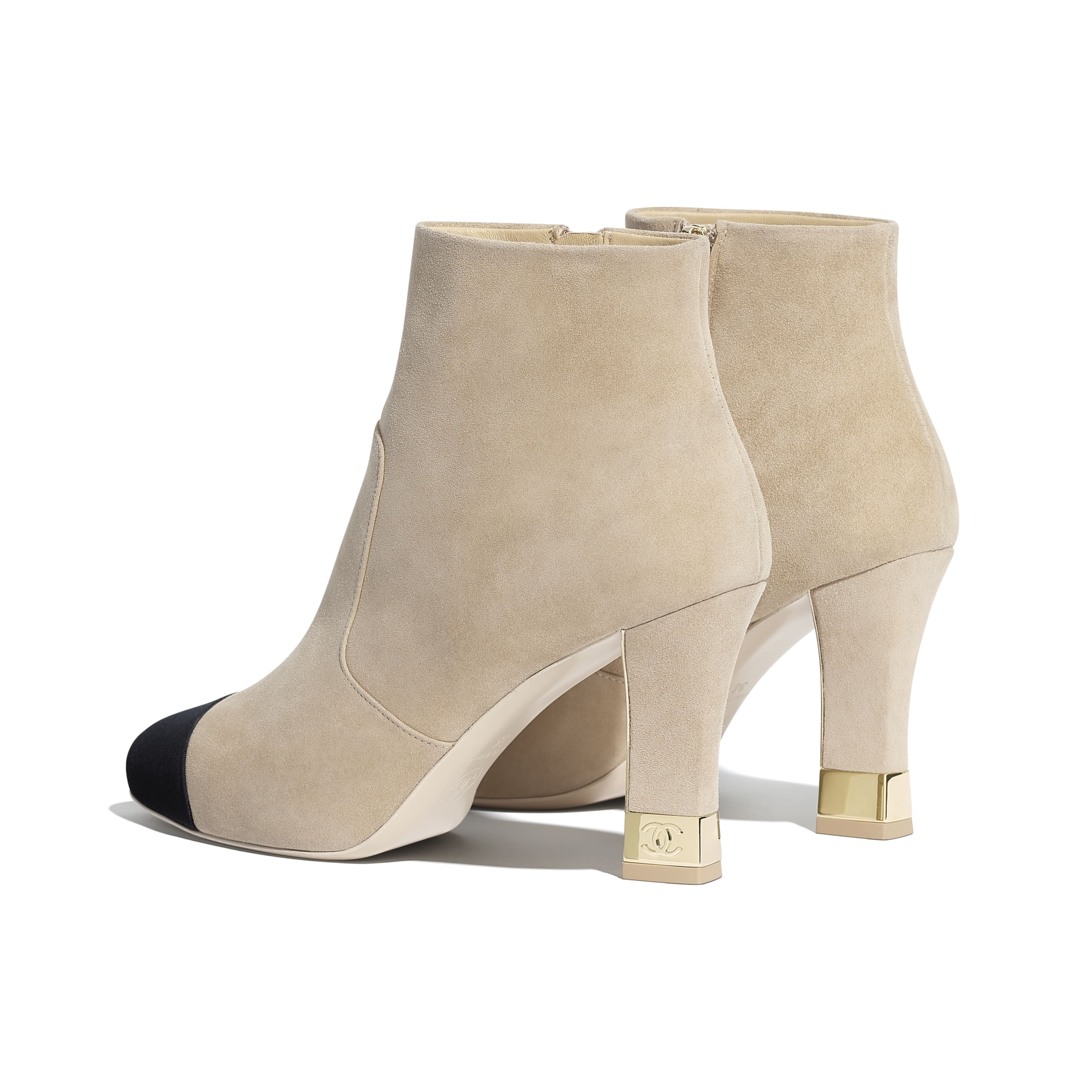 Ankle Boots - Beige & Black - Suede Kidskin & Grosgrain - CHANEL - Other view - see standard sized version
