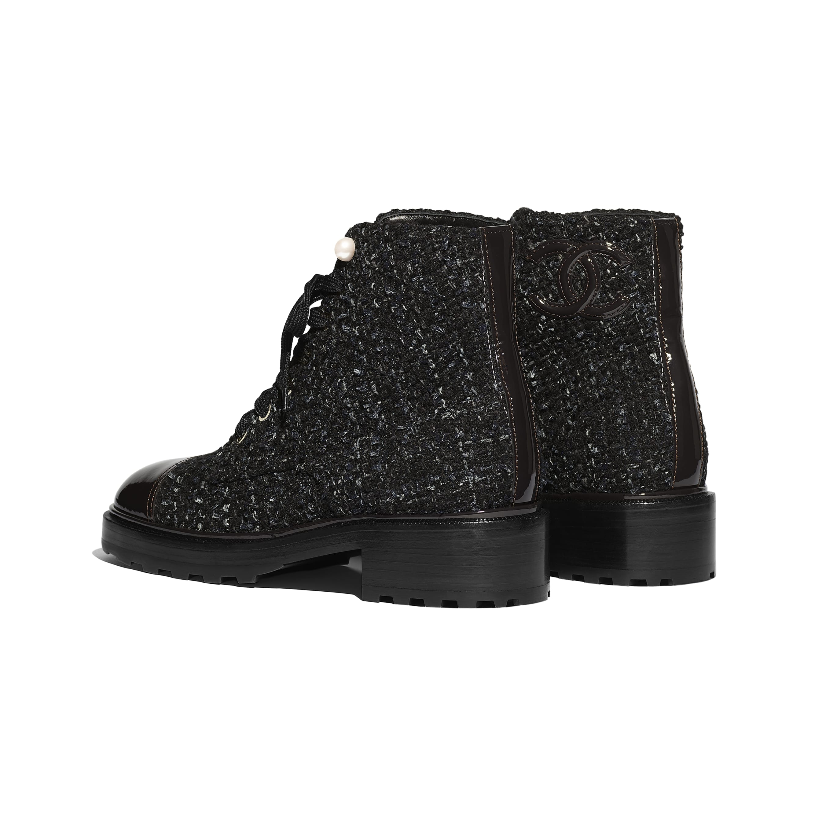 Ankle Boots - Black, Blue & Gray - Tweed & Patent Calfskin - Other view - see standard sized version