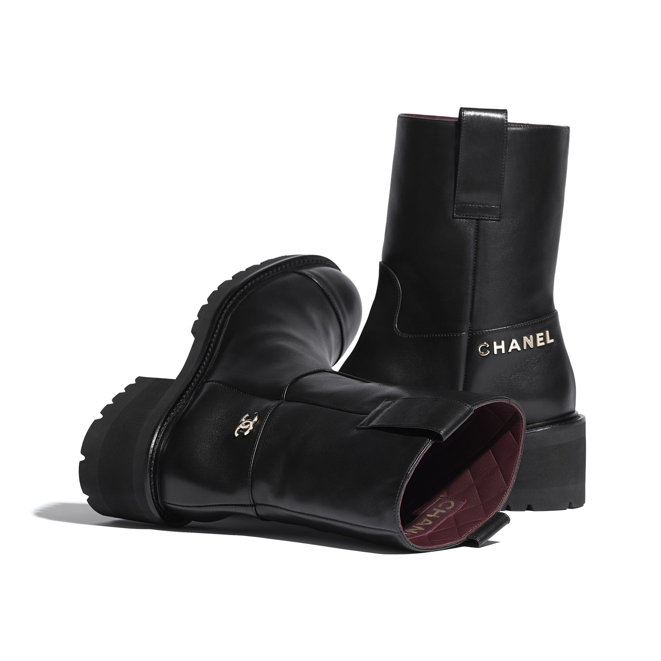 Ankle Boots - Black - Calfskin - CHANEL - Extra view - see standard sized version