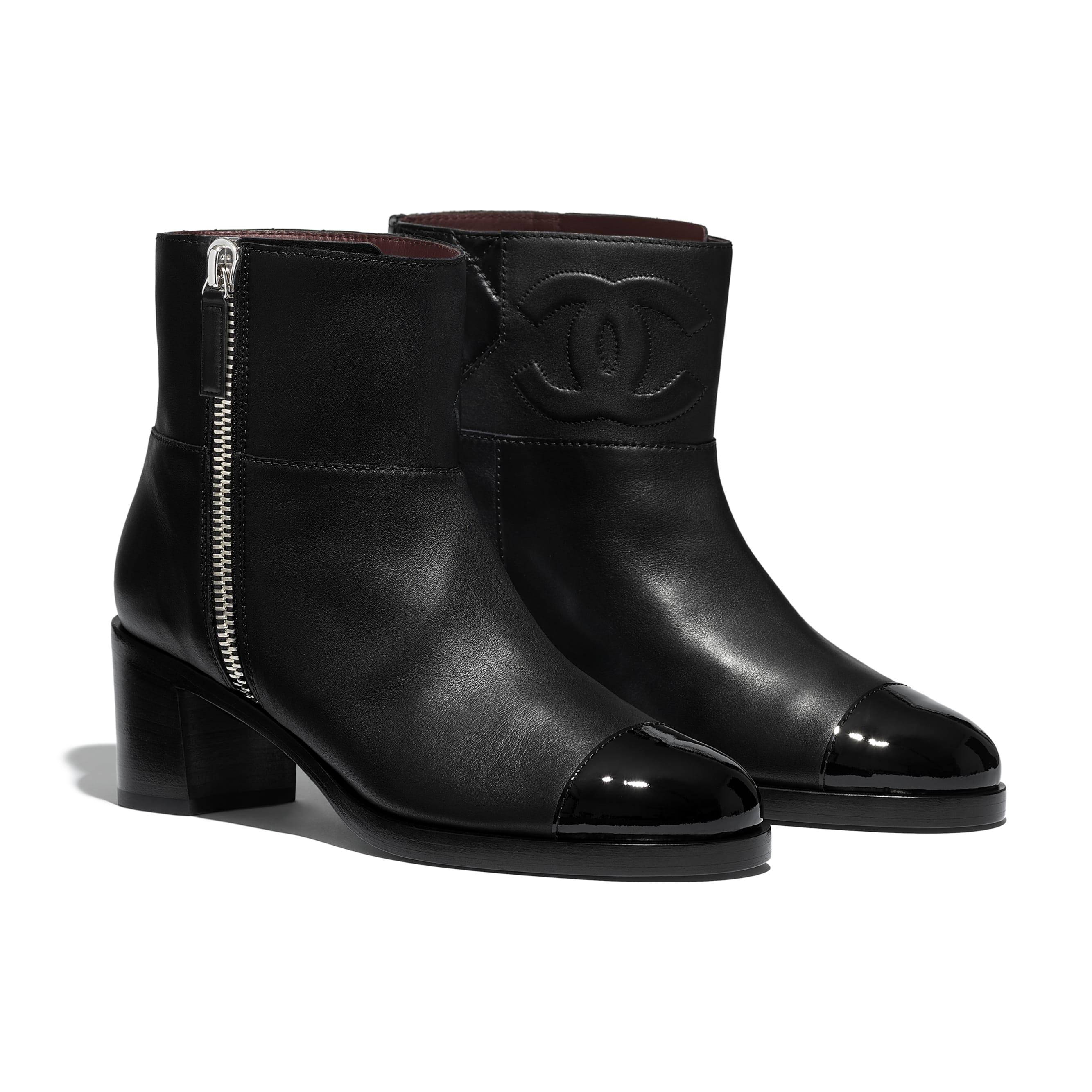 Ankle Boots - Black - Calfskin & Patent Calfskin - Alternative view - see standard sized version