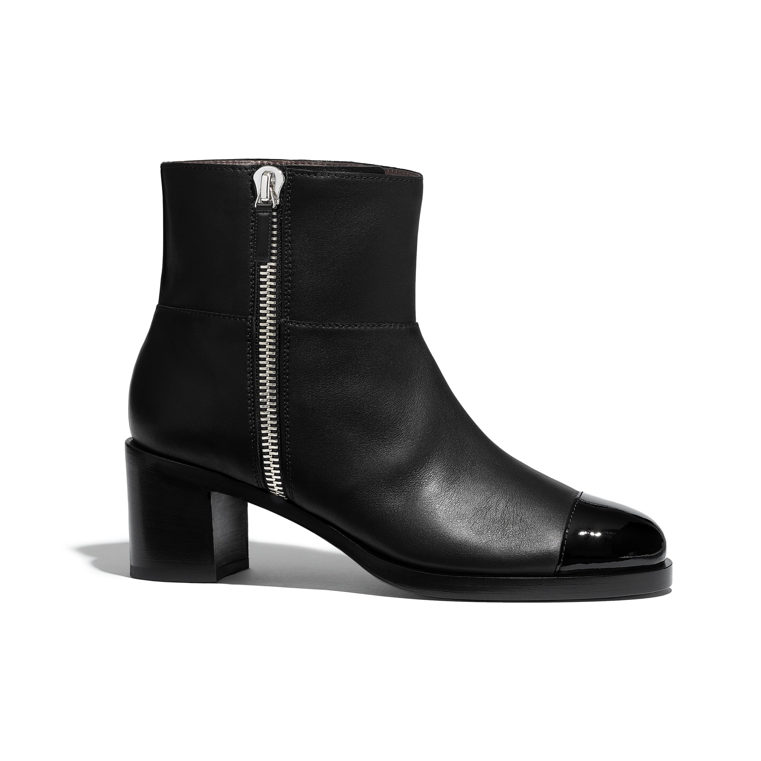 Ankle Boots - Black - Calfskin & Patent Calfskin - Default view - see standard sized version