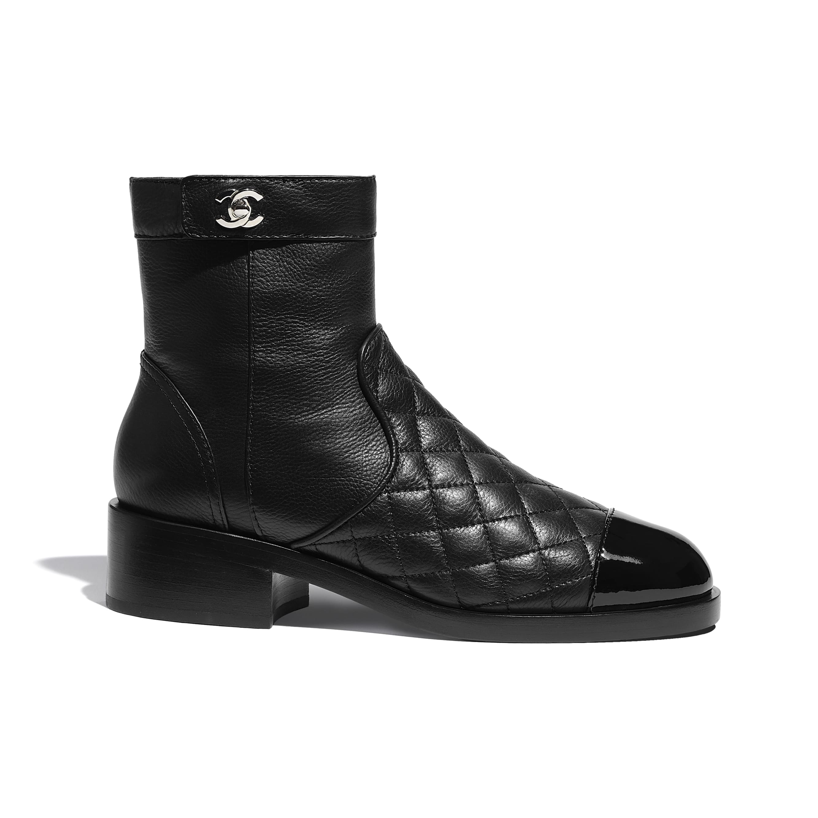 Ankle Boots - Black - Calfskin & Patent Calfskin - CHANEL - Default view - see standard sized version