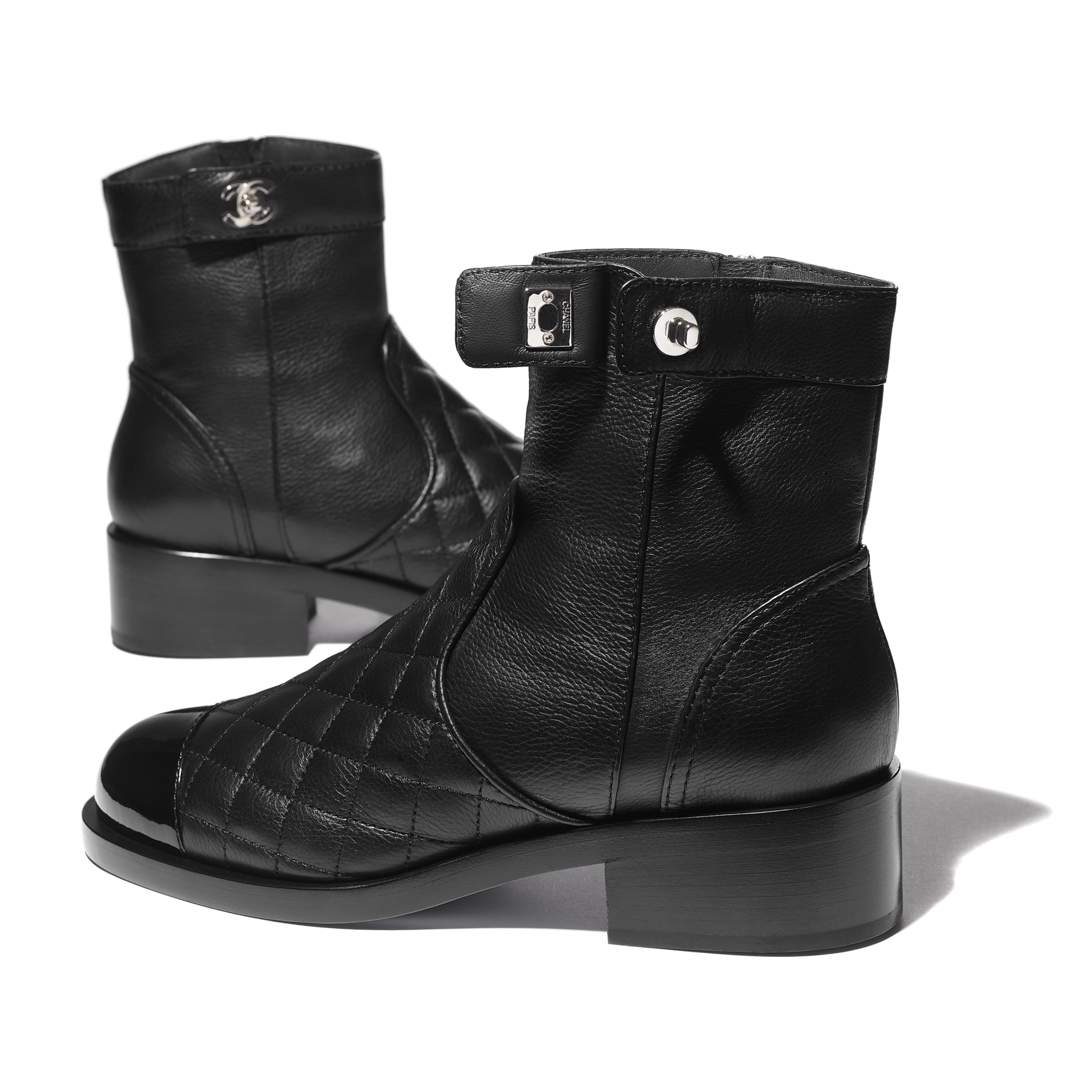 Ankle Boots - Black - Calfskin & Patent Calfskin - CHANEL - Extra view - see standard sized version