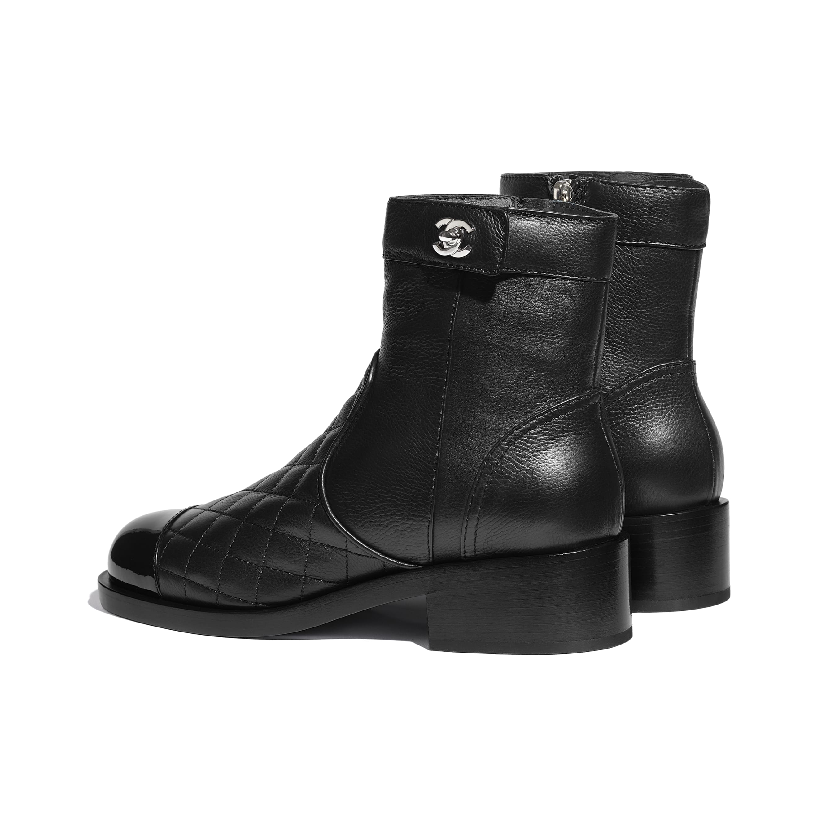 Ankle Boots - Black - Calfskin & Patent Calfskin - CHANEL - Other view - see standard sized version
